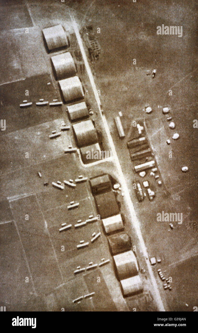 A British aerodrome in France  seen from 3000m above, with 12  temporary hangars, and 20  aircraft ready to take - Stock Image