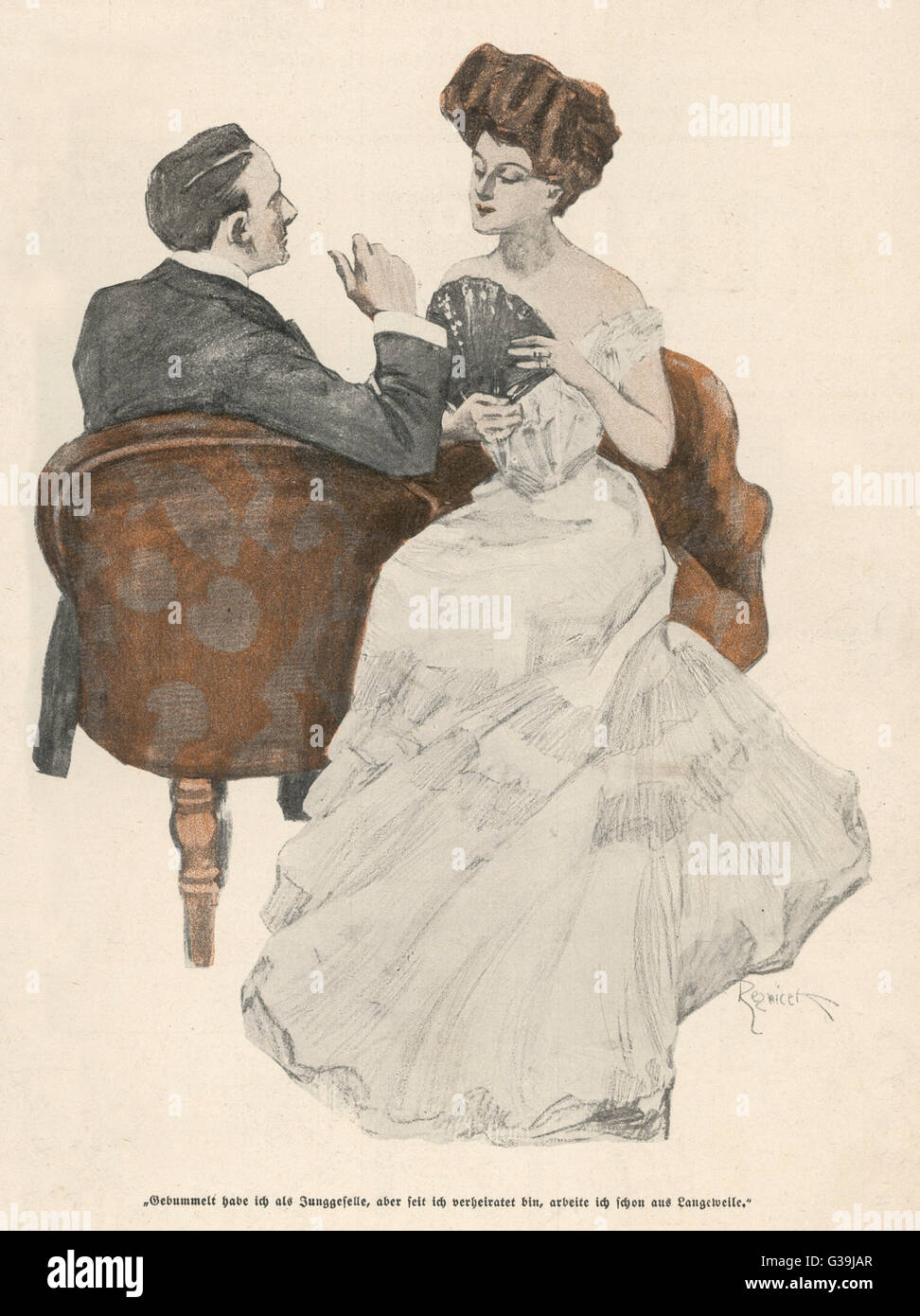 Two in a 'kissing-seat'         Date: 1908 - Stock Image