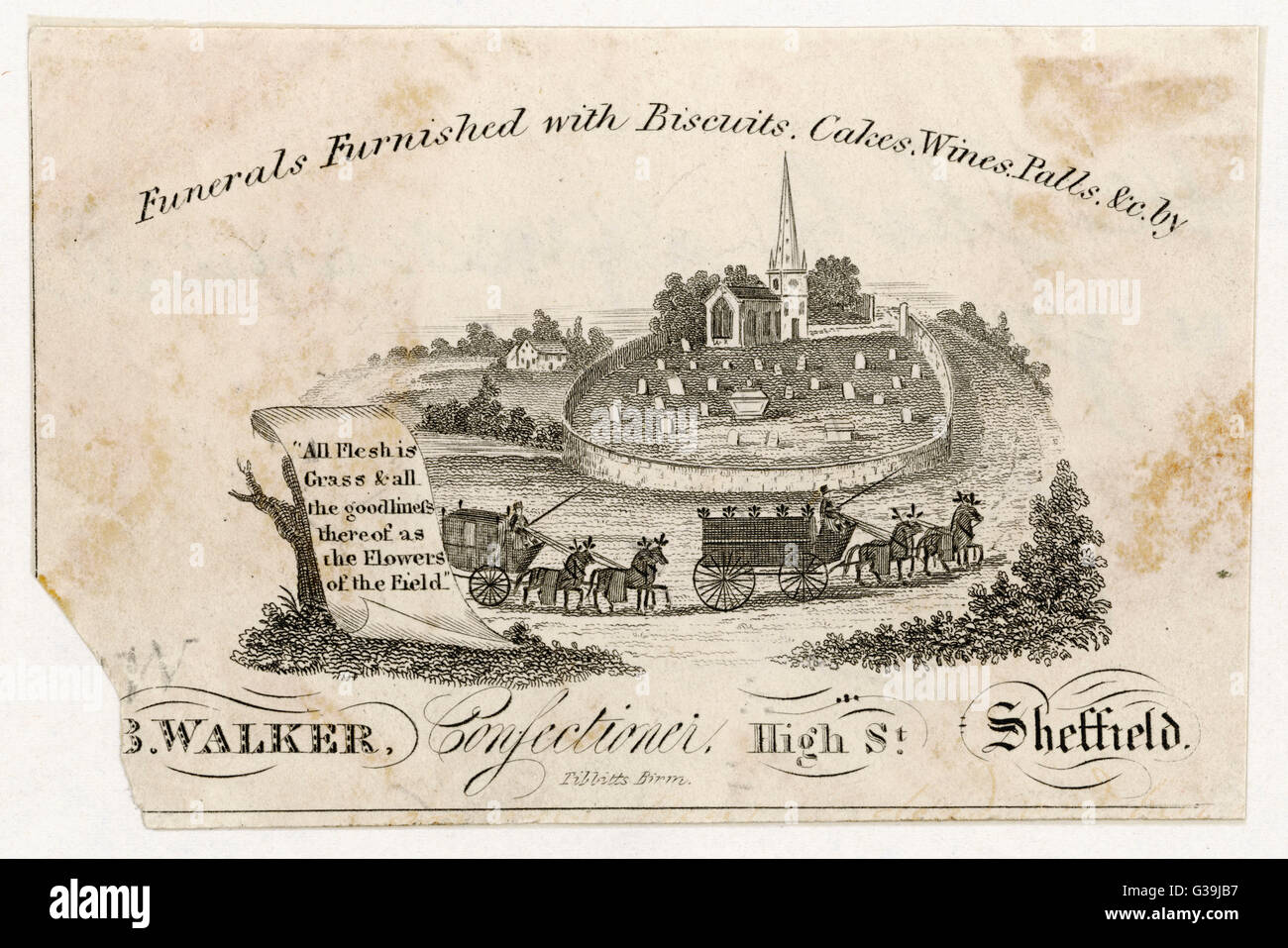 'Funerals furnished with  Biscuits, Cakes, Wines, Palls  &c' by Walker, Confectioner,  of Sheffield, - Stock Image