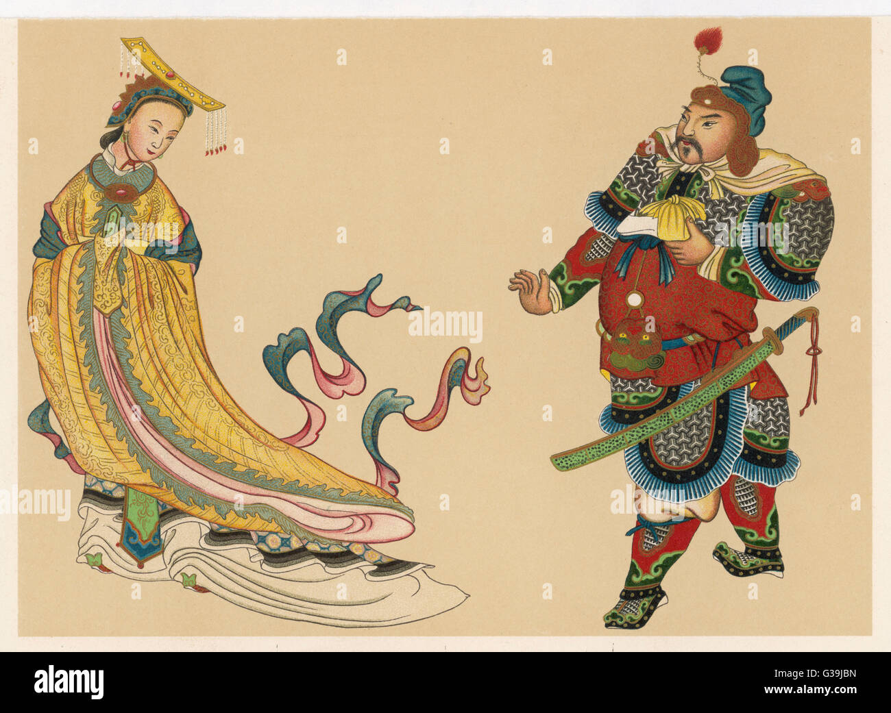 Wu Tse-Tien (ruled 625-705), Chinese Empress shown in her  yellow imperial robes. Also pictured is a courtier of - Stock Image