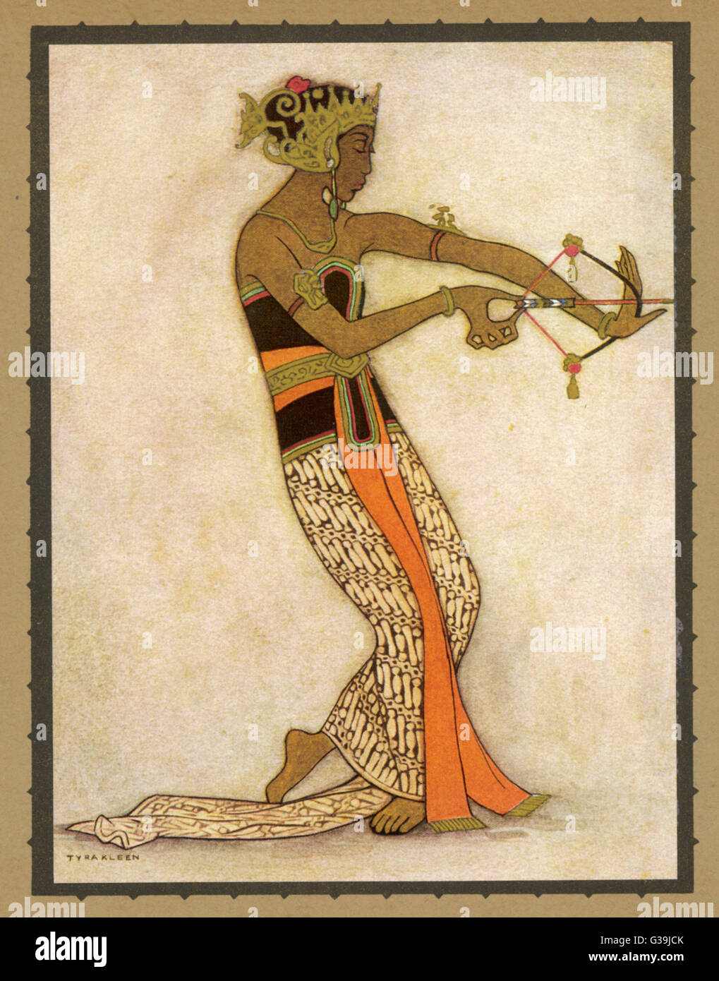 A Javanese dancer drawing a  bow in a highly stylized  movement.  Much of the  repertoire of this style has a  story - Stock Image