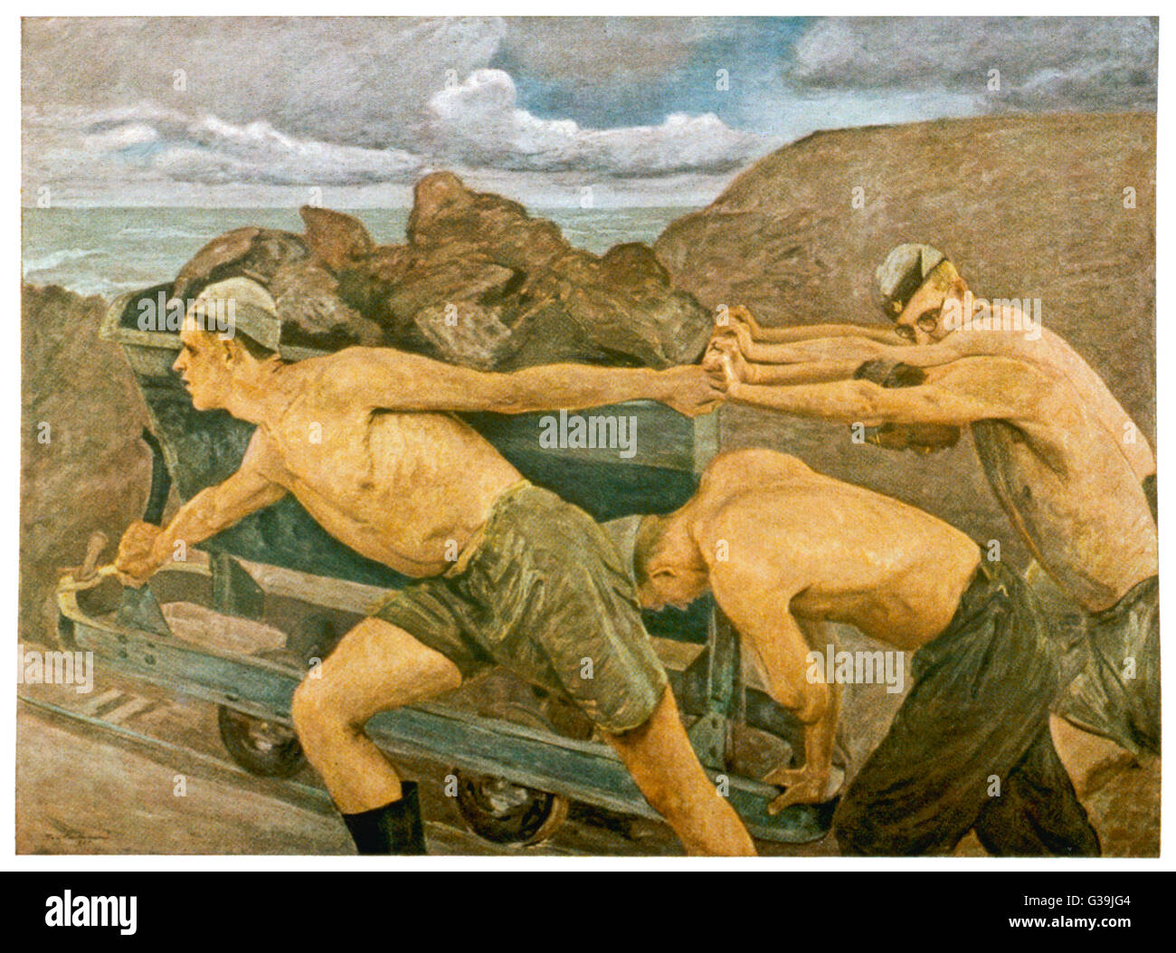 Three young men struggle and  strain to push a rail truck  full of iron ore uphill as  part of their Labour Service - Stock Image