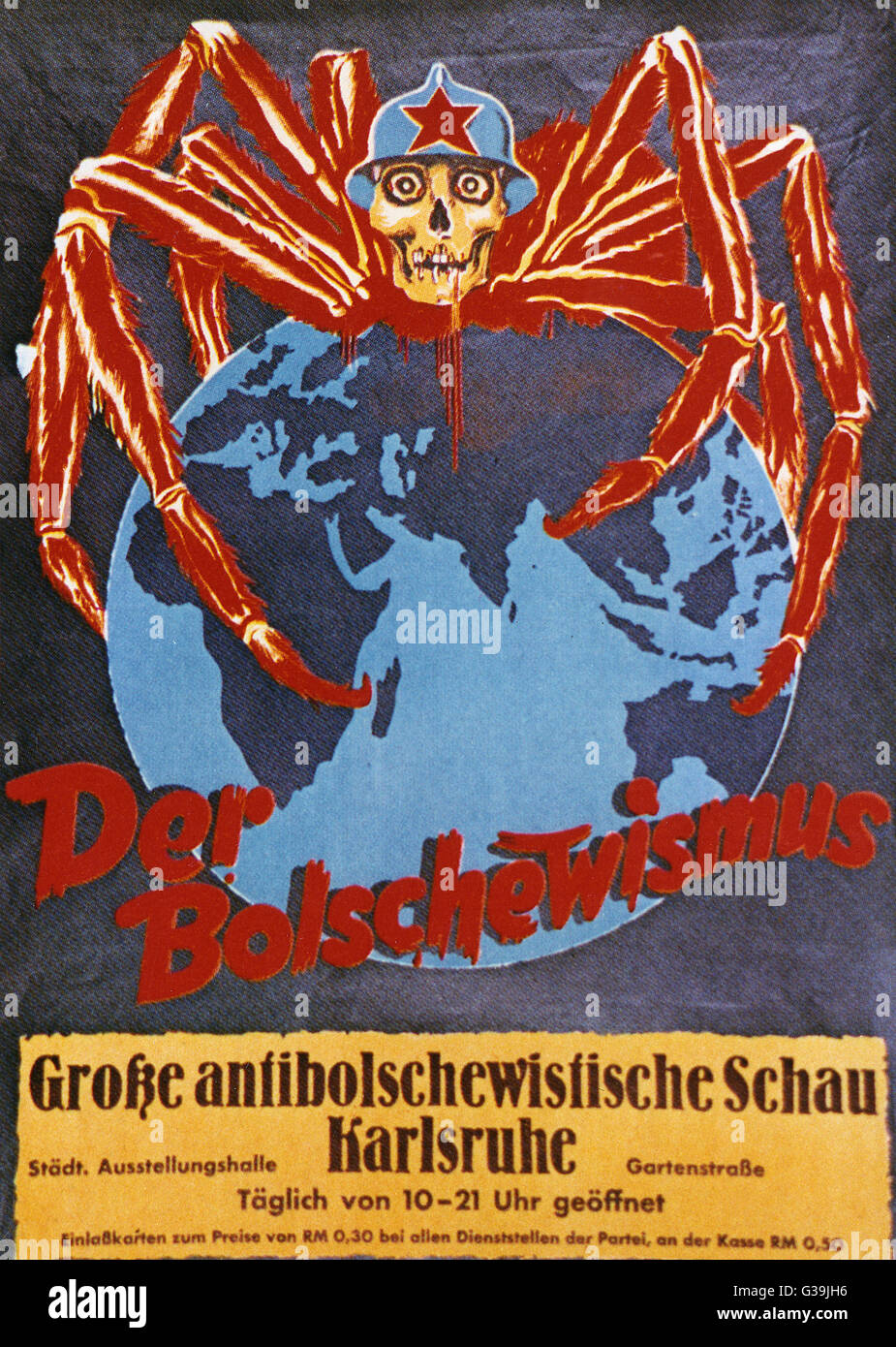 Poster depicting a spider with  a head like a skull to promote  The Great Anti-Bolshevic  Exhibition in Karlsruhe. Stock Photo