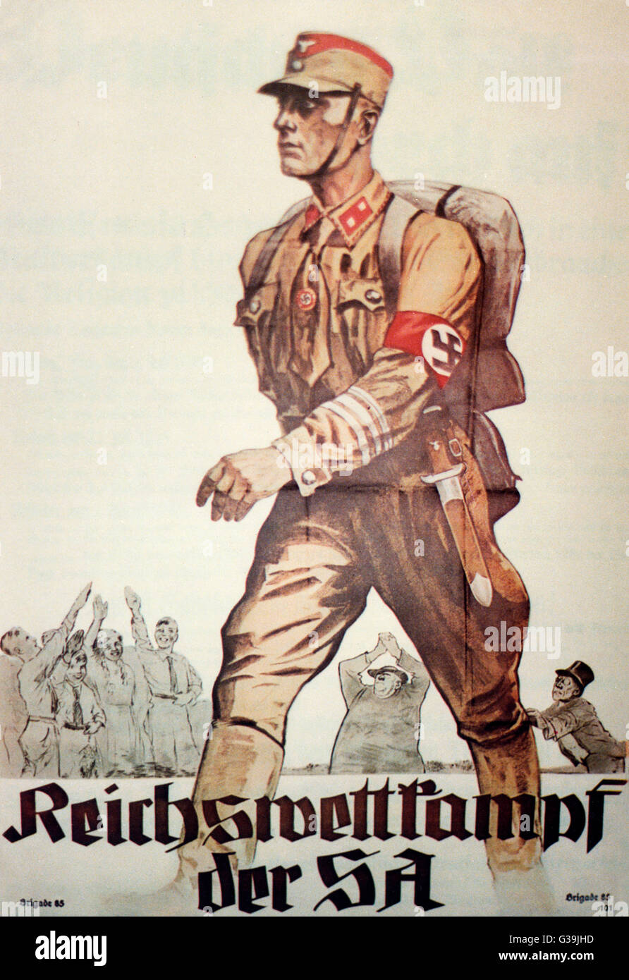Propaganda poster for the  Stormtroopers of the SA  (Sturmabteilung: Storm  Detachment).      Date: 1930s - Stock Image