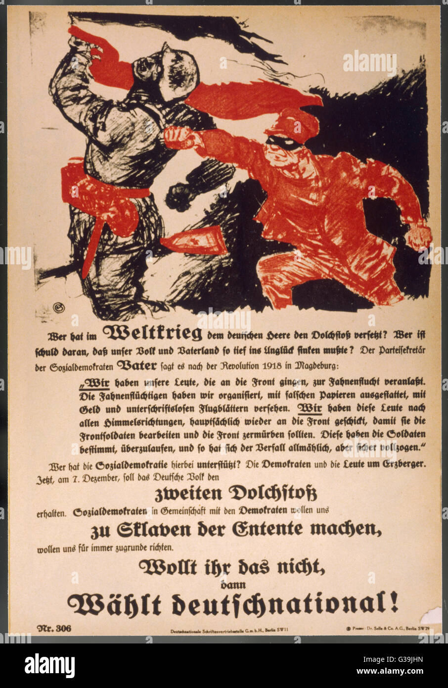German Nationalist poster  creates the myth of the 'stab  in the back' to explain  Germany's defeat - Stock Image