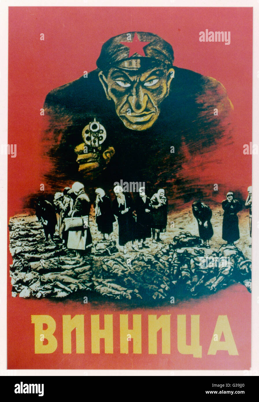 Nazi propaganda poster in  occupied Russia attempts to  blame the atrocities on the  Jewish Communist Commisar. - Stock Image