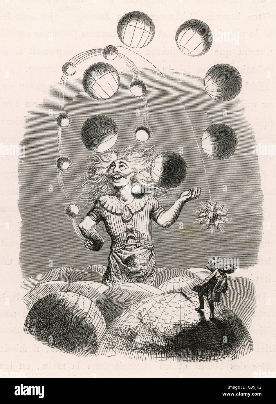 God depicted as a juggler,  amusing himself with the  worlds he has created        Date: 1841 - Stock Image
