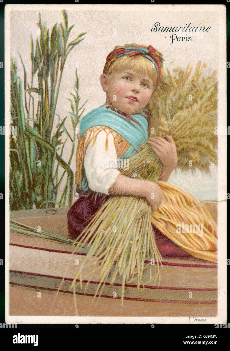 Small girl with a wheatsheaf = a rather corny picture...        Date: 1892 - Stock Image