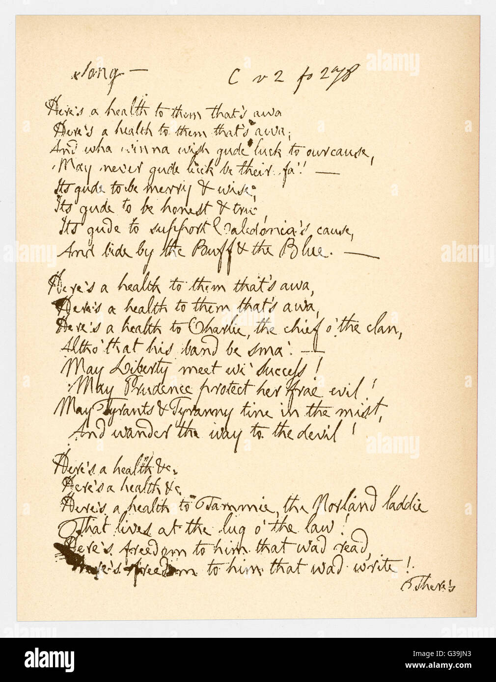 A poem by Robert Burns, giving  a good example of his  handwriting. - Stock Image