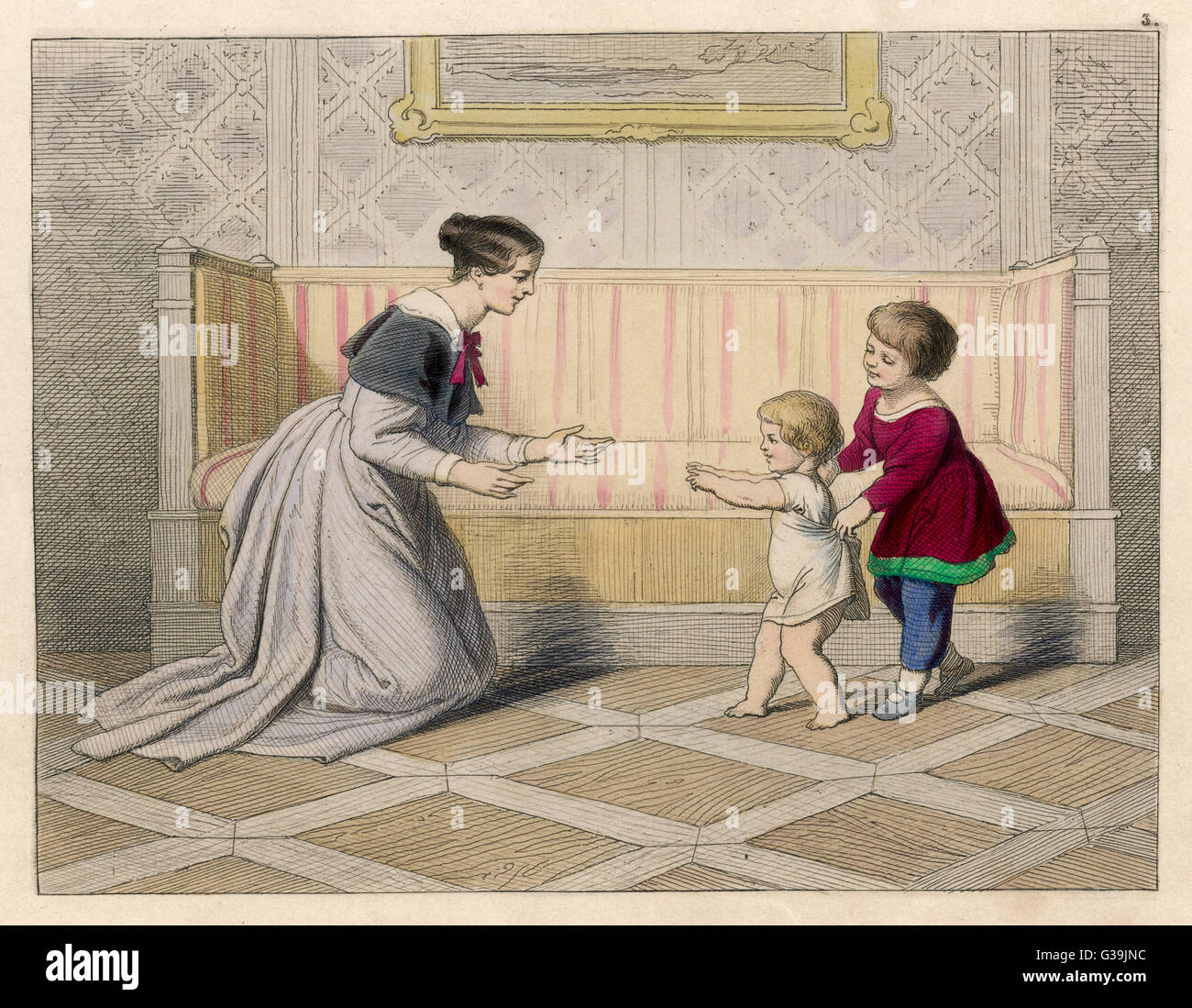 BABY'S FIRST STEPS         Date: 1852 - Stock Image
