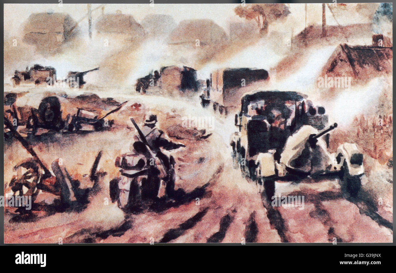 Nazi war artist's portrayal  of the German invasion of  Russia       Date: 22 June 1941 - Stock Image