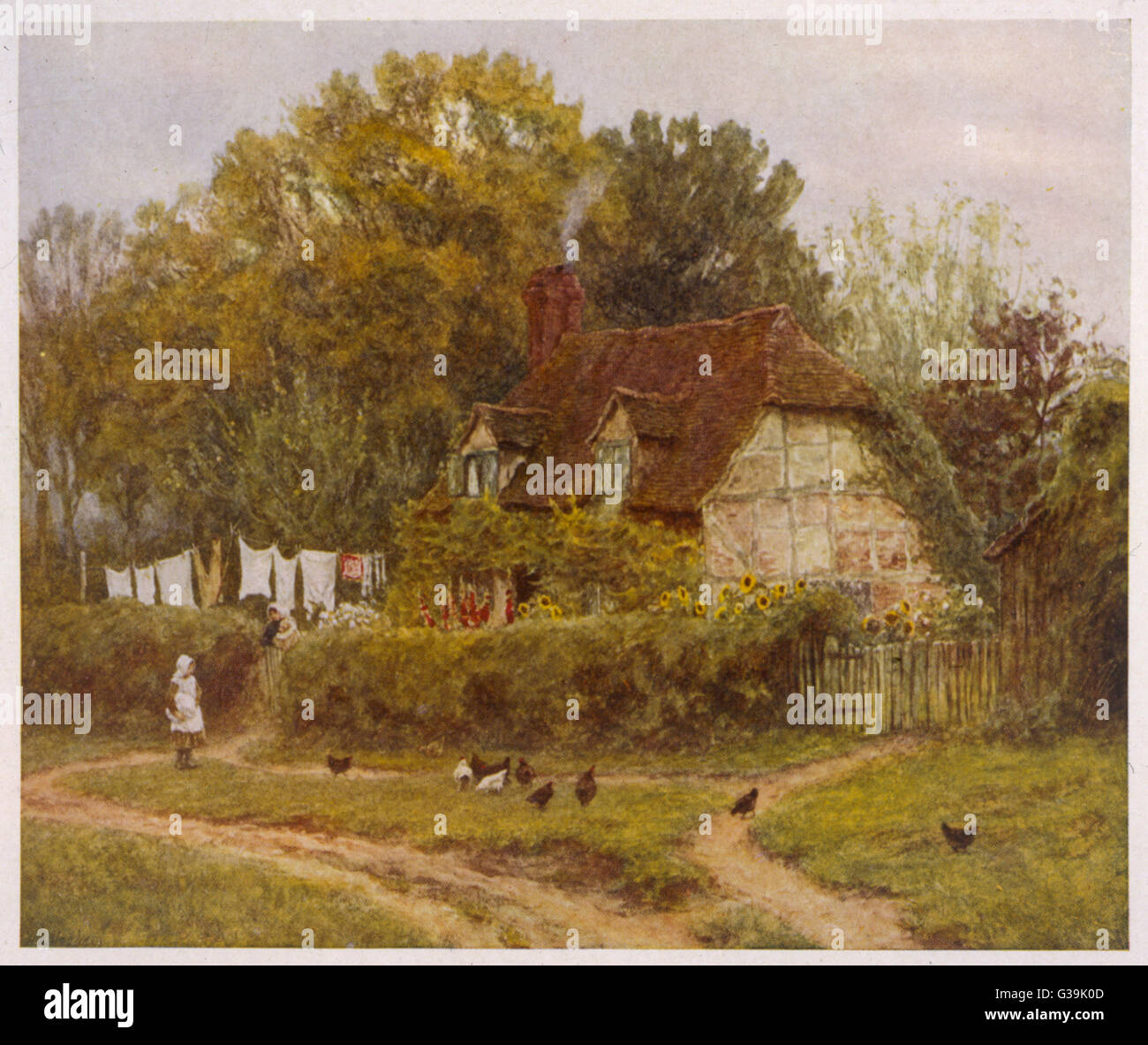 A country cottage  on washing day         Date: 1888 - Stock Image