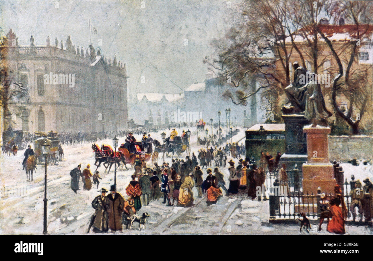 A wintery scene of Berlin at  the turn of the twentieth  century on New Year's Day. The  painting was shown - Stock Image
