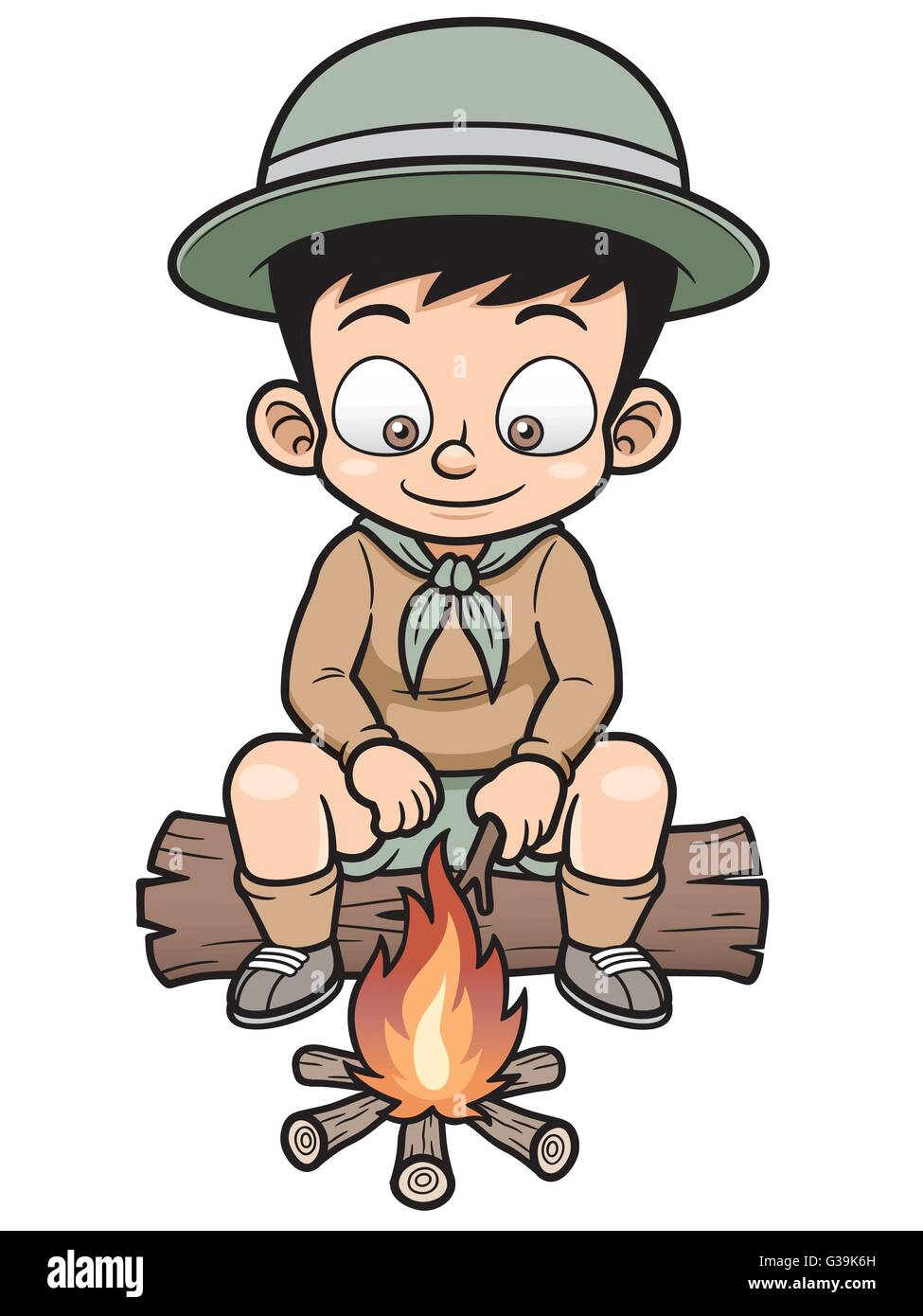 Vector illustration of Boy Camping Cartoon - Stock Vector