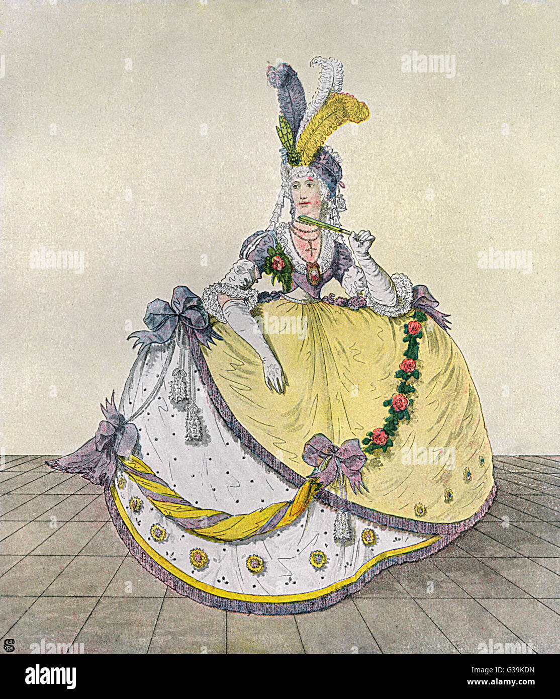 English court dress stills  employs the use of hoops to  hold out the elaborately  ornamented skirts even though - Stock Image