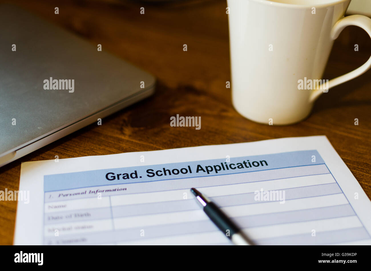 Graduate school admission application - Stock Image