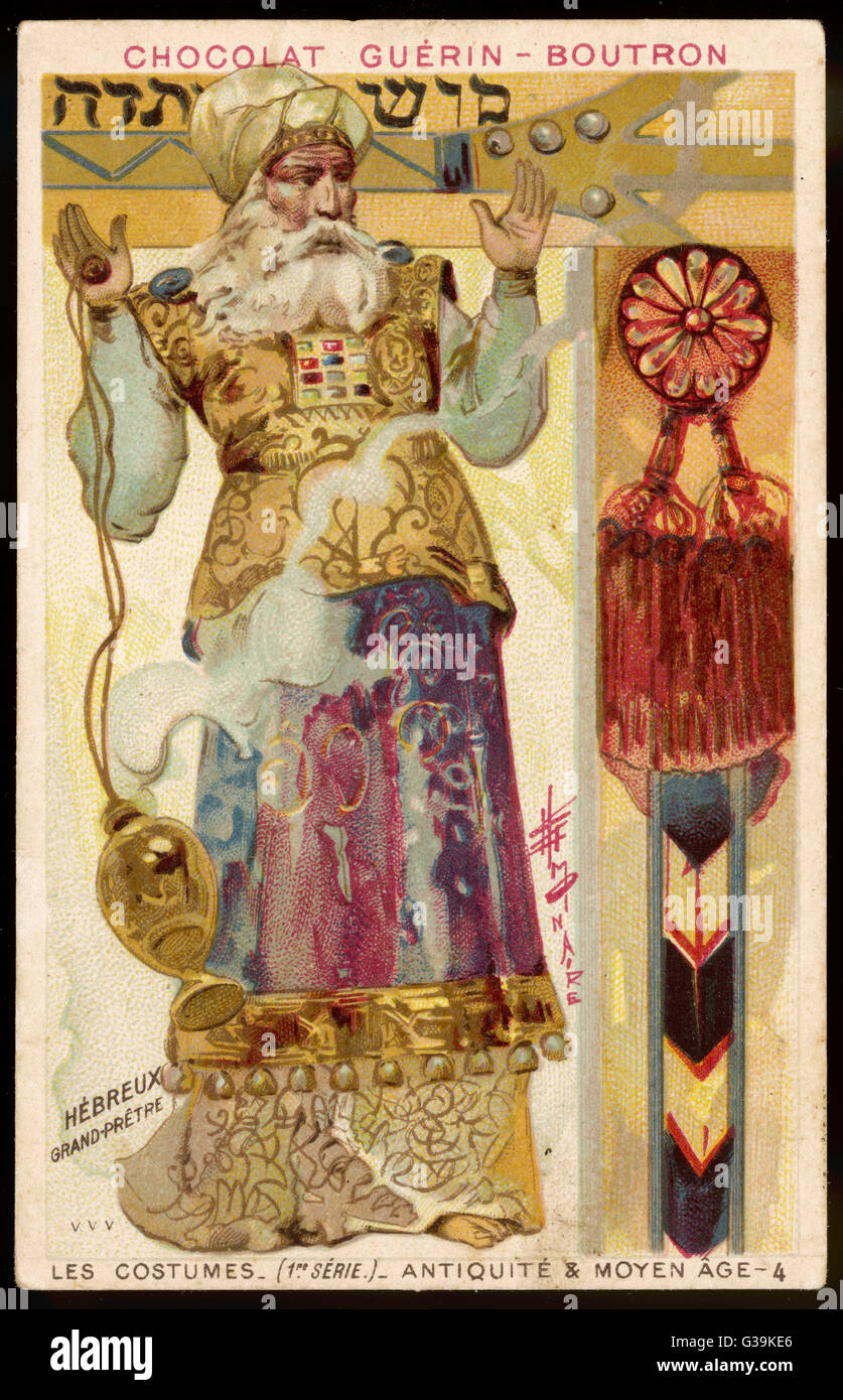 A Hebrew High Priest in ornate  gold and red robes, praying  with raised hands and swinging a smoking censer    - Stock Image