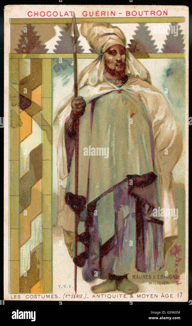 A Moorish soldier of medieval Spain in white robe and  turban, carrying a spear        Date: MEDIEVAL SPAIN - Stock Image