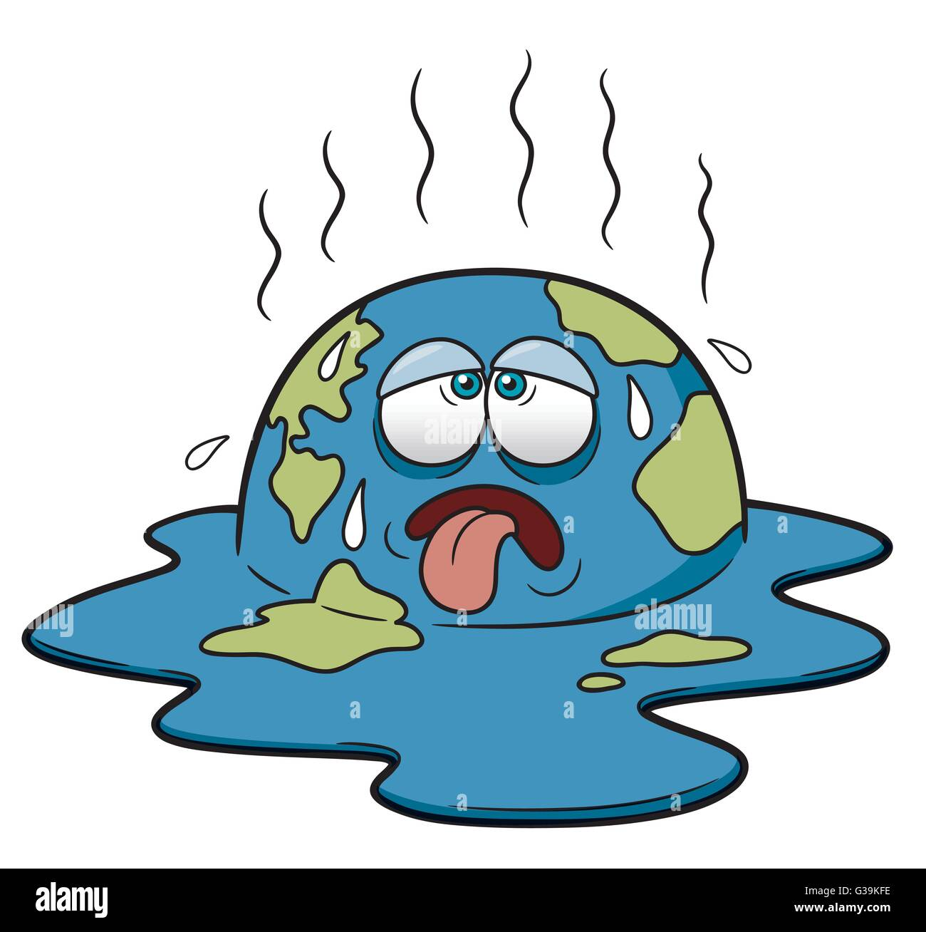 Vector illustration of Earth in Hot Weather Cartoon - Stock Vector