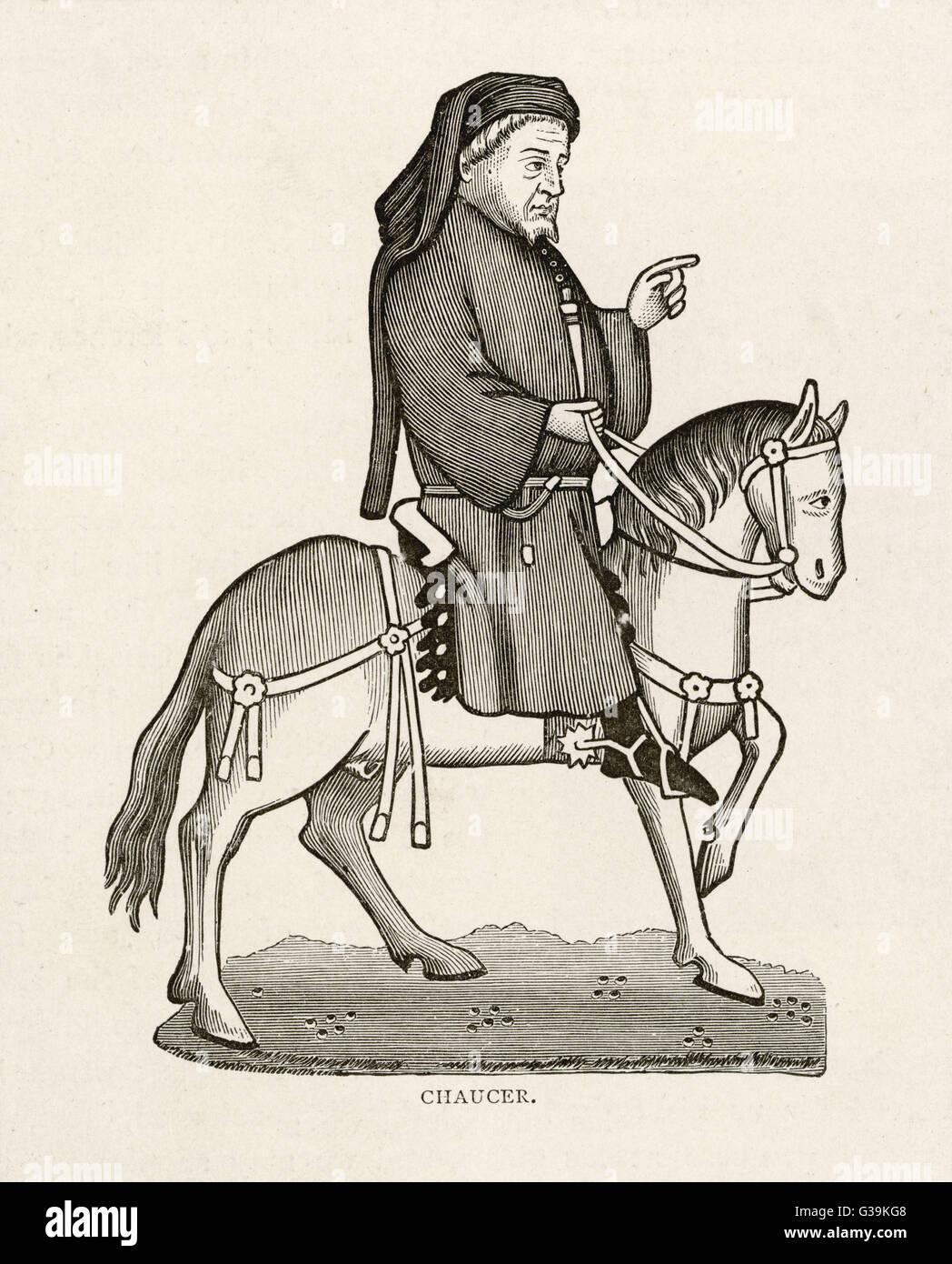 GEOFFREY CHAUCER (1340 - 1400) English poet as a  Canterbury pilgrim - Stock Image