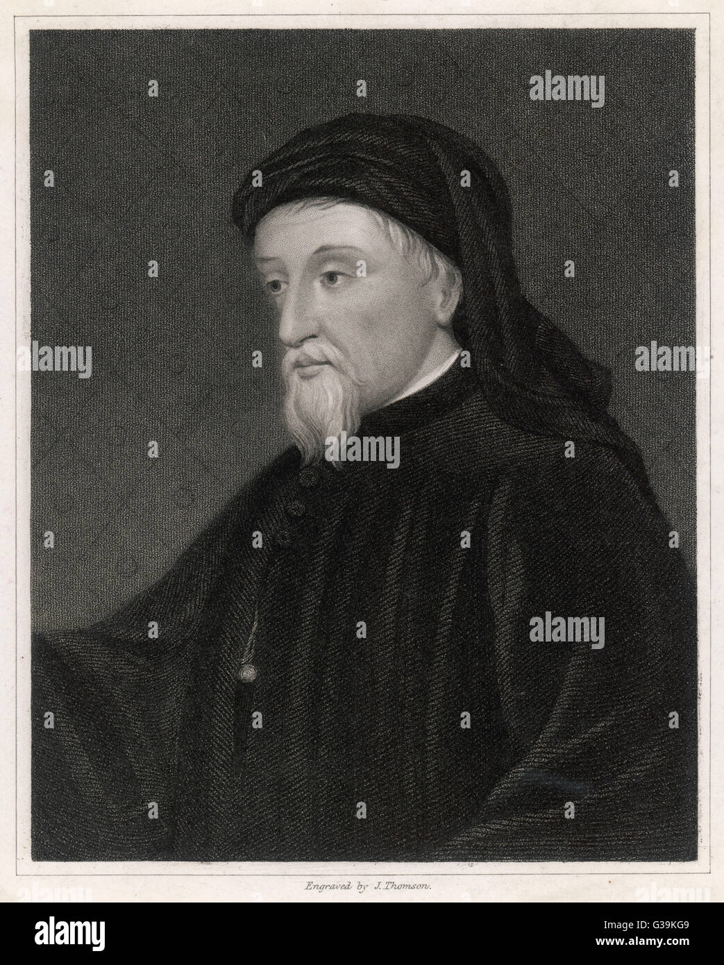 GEOFFREY CHAUCER  English poet, writer of The Canterbury Tales       Date: 1340 - 1400 - Stock Image