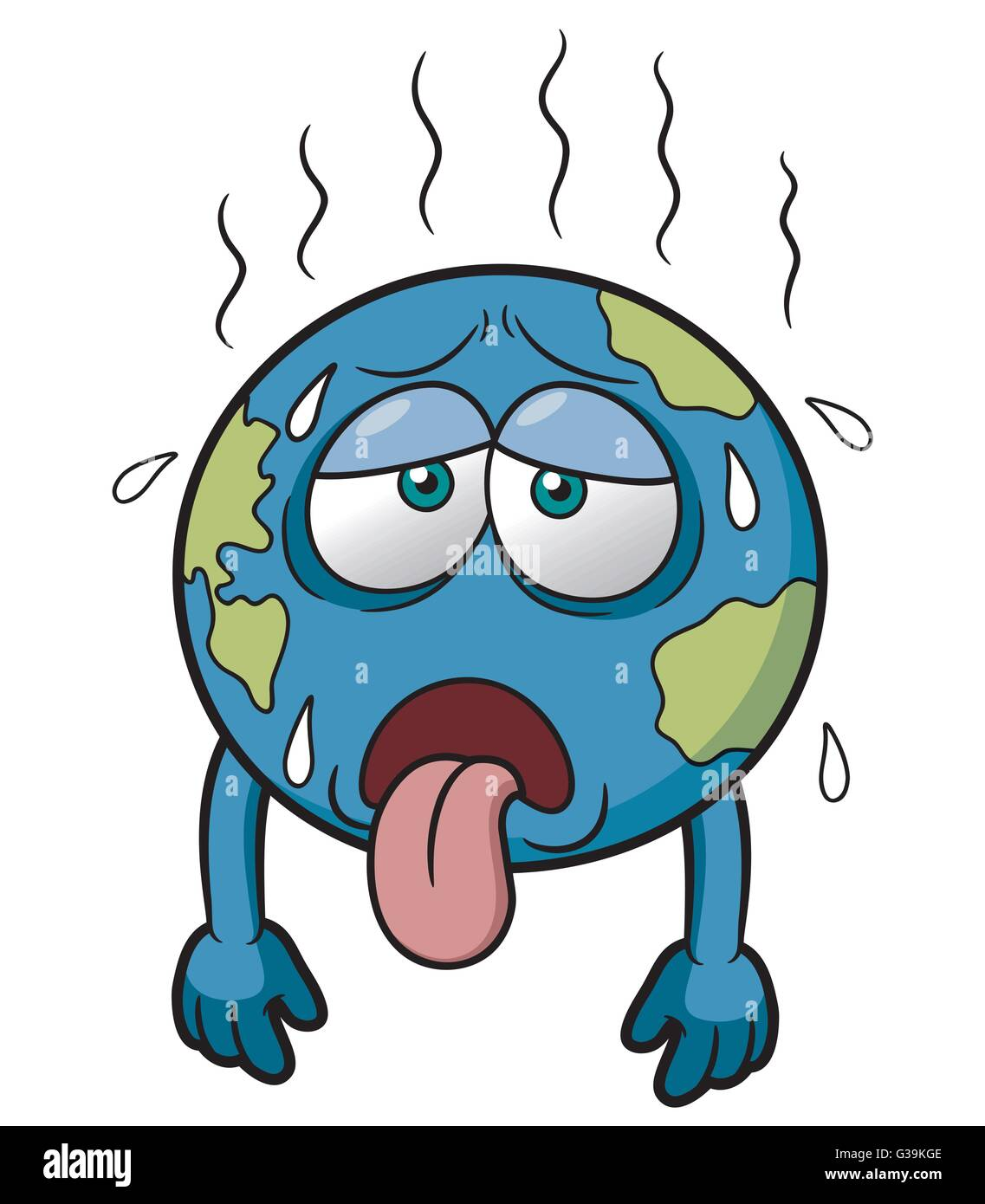 Vector illustration of Earth in Hot Weather - Stock Image
