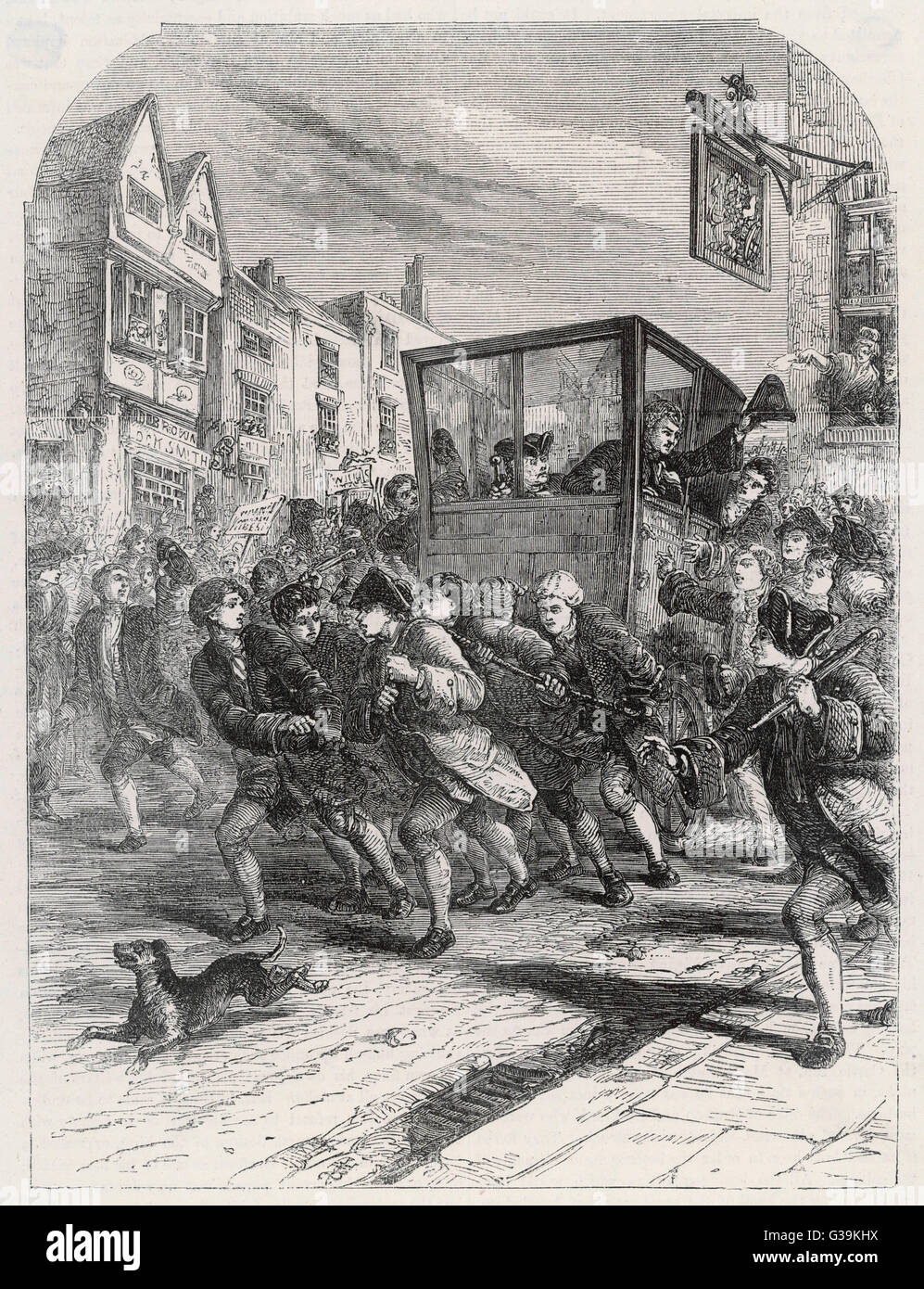 John Wilkes's Triumphal entry  into the city.        Date: 1768 - Stock Image