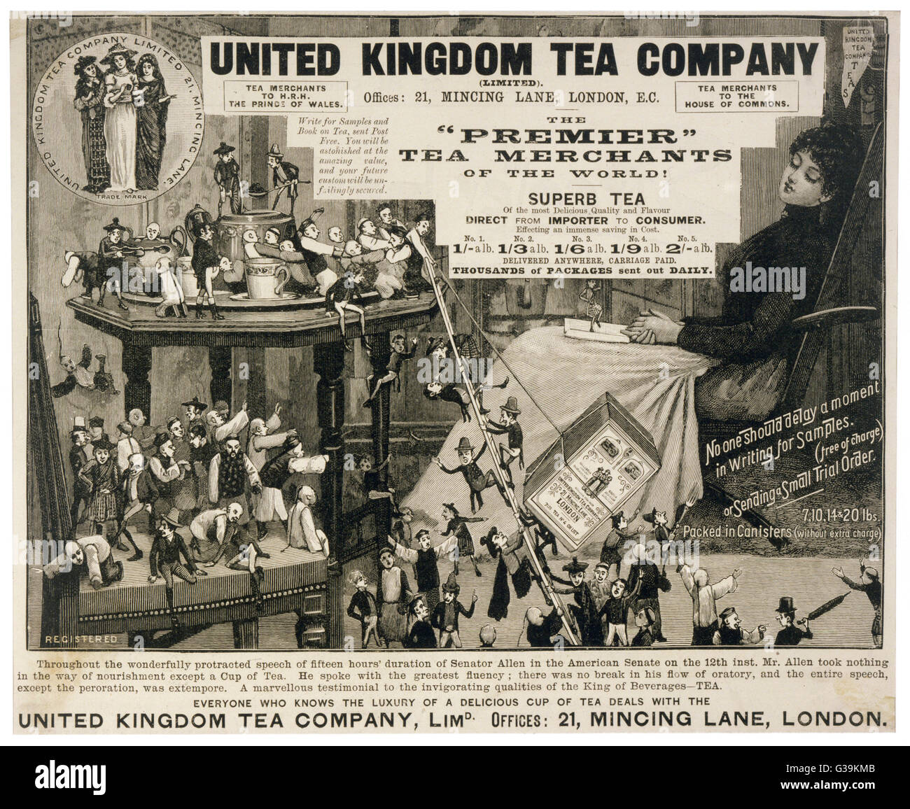 The united forces of Chinese,  English and Scottish little  people help haul a packet of  tea up to the pot to revive - Stock Image