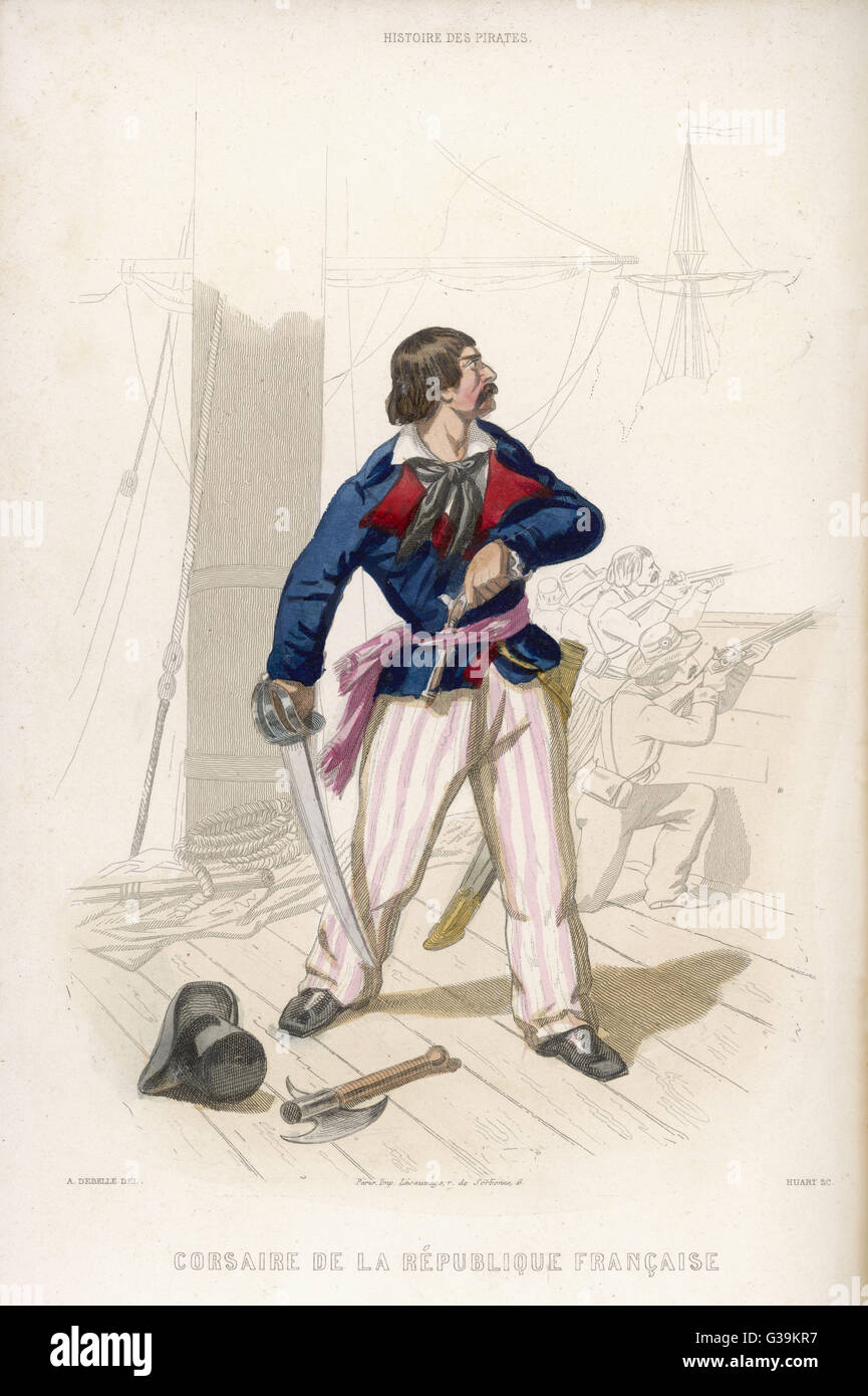 A French corsair of the  Republican period - a  freelance pirate attacking the  British for whatever he can  get... - Stock Image