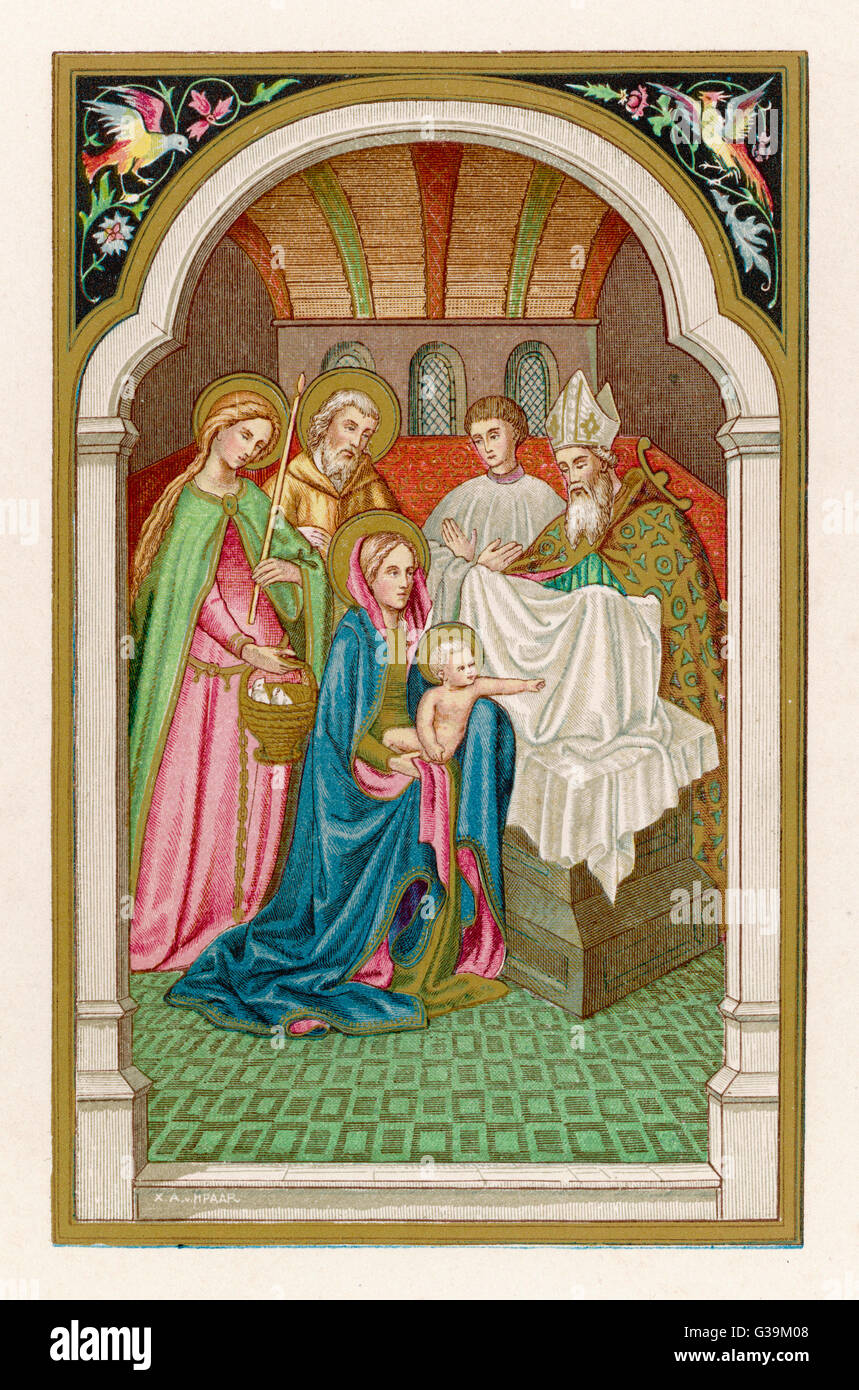 After giving birth to Jesus,  Mary goes to the temple to  be ritually purified - Stock Image