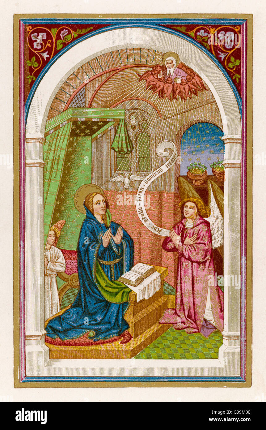 Mary is amazed to learn that  she is going to be a mother         Date: 1st century - Stock Image