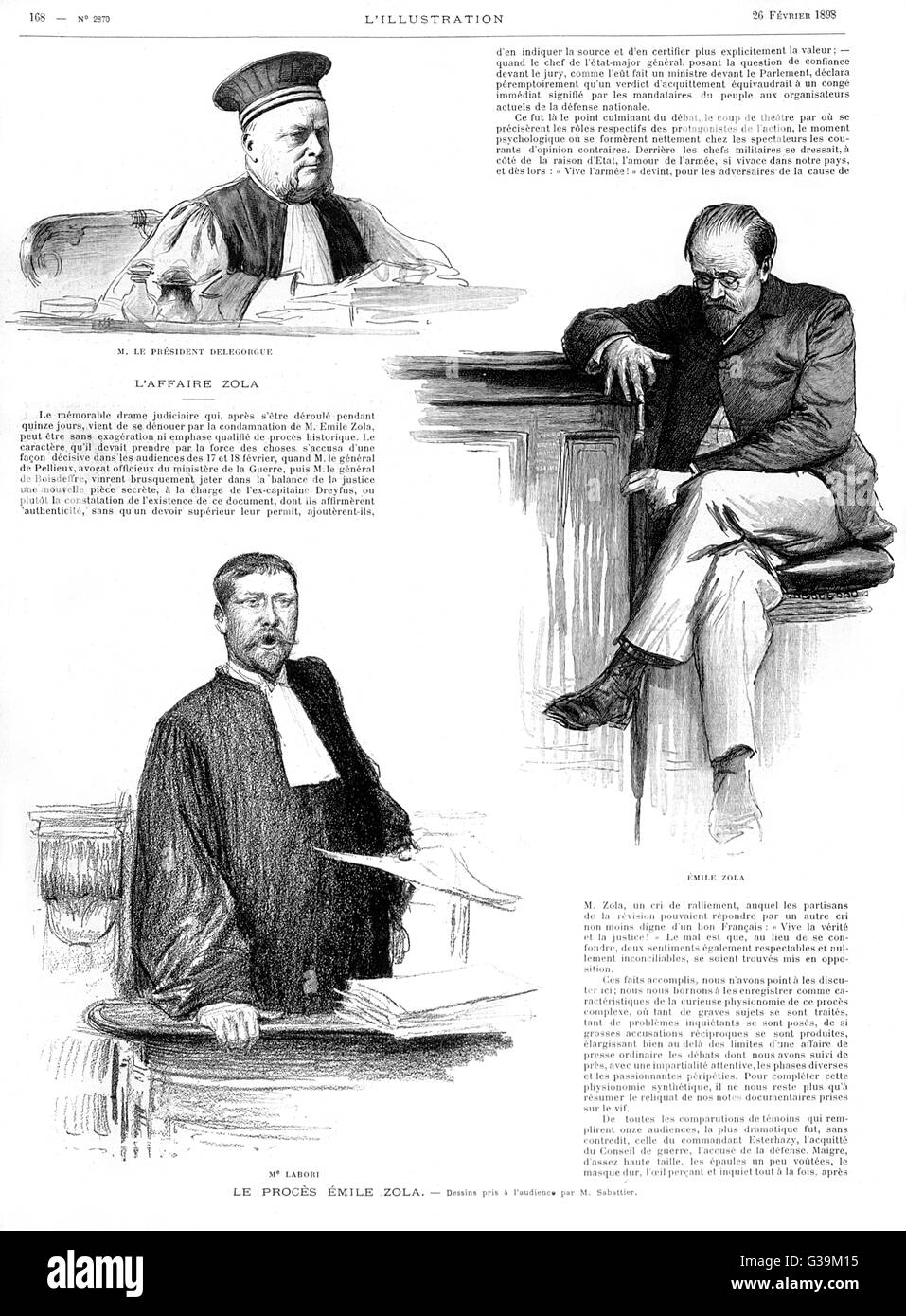 "Emile Zola in court after the  publication of his  denunciation ""J'Accuse"" of the  army cover - Stock Image"