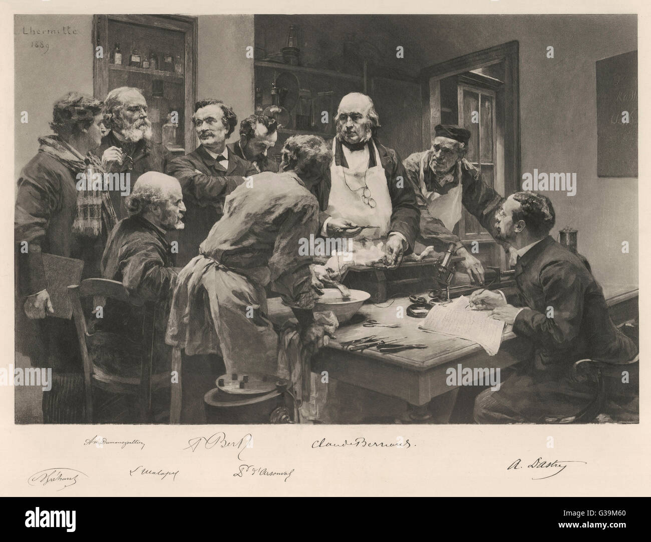 Claude Bernard, French  physiologist, with a group of  colleagues, discussing the  anatomy of a rabbit       Date: - Stock Image
