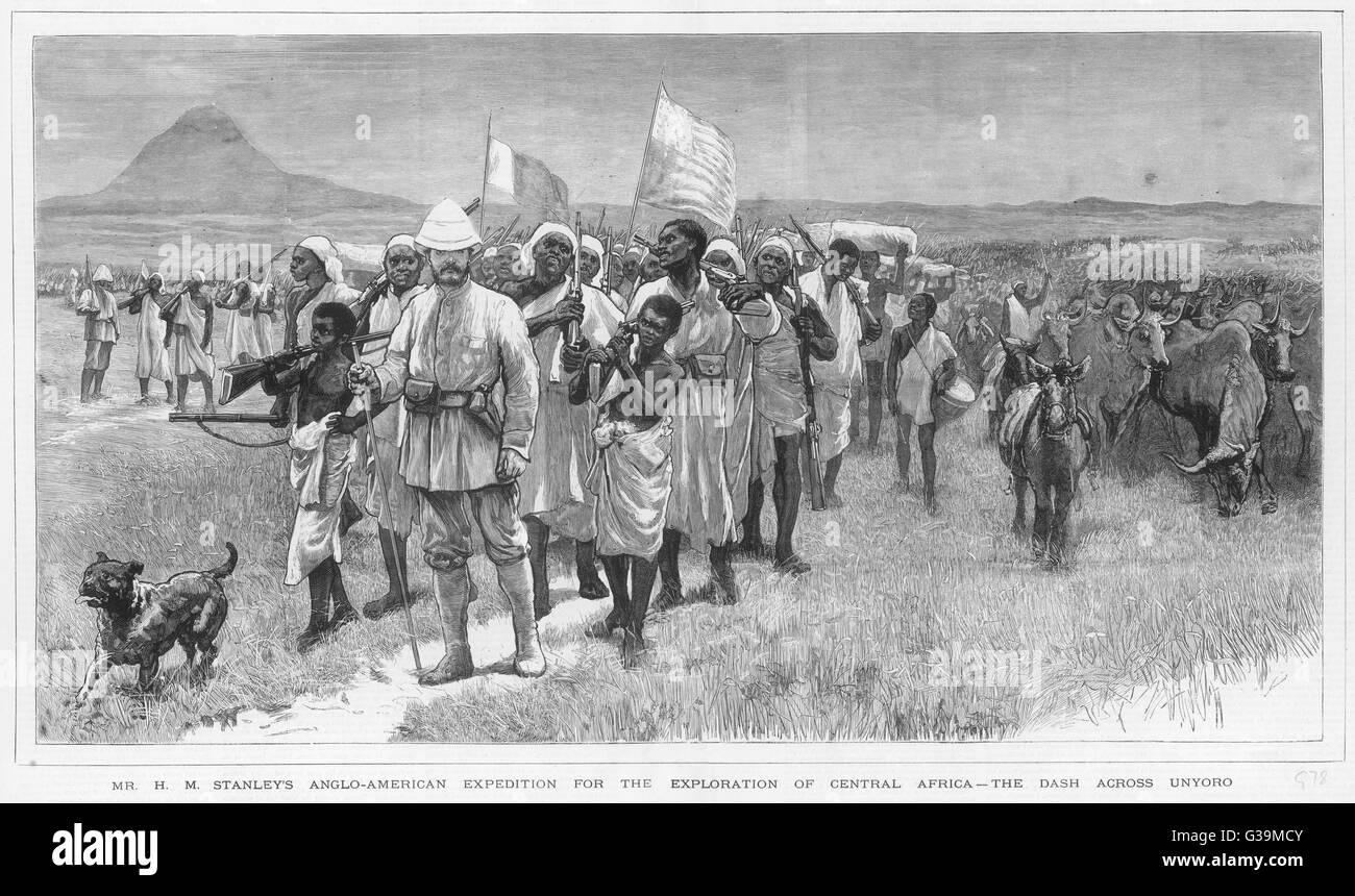 Zaire expedition : the dash across Unyoro -  Stanley at the head of a vast  retinue of porters, cooks etc       - Stock Image