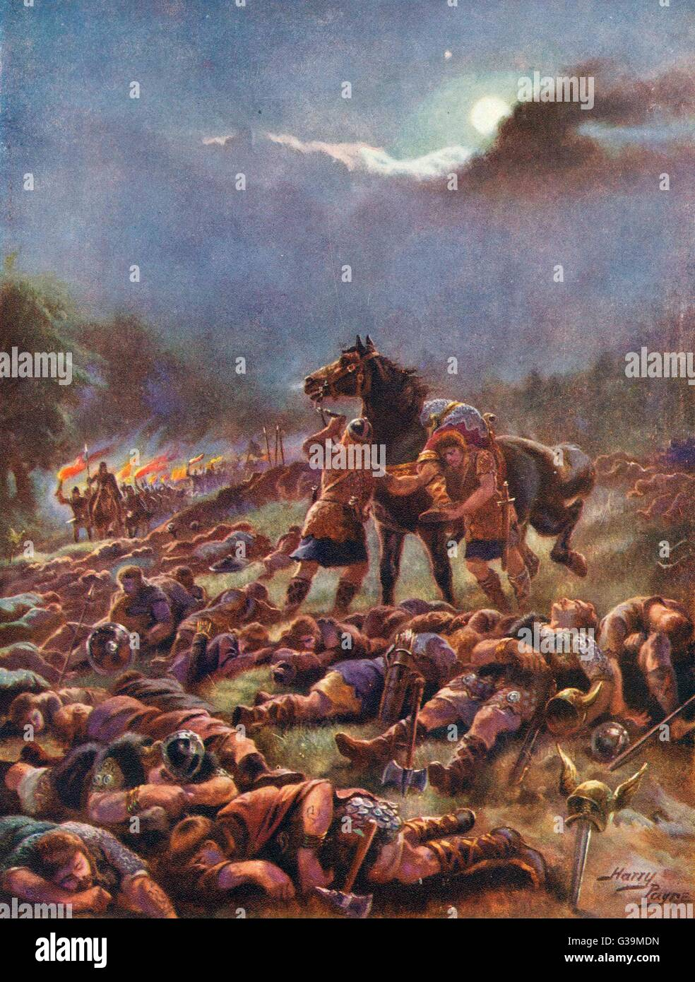 The Scots drug and then attack  their Viking invaders.  The  Viking leader Sweyn of Norway, however, escapes thanks - Stock Image