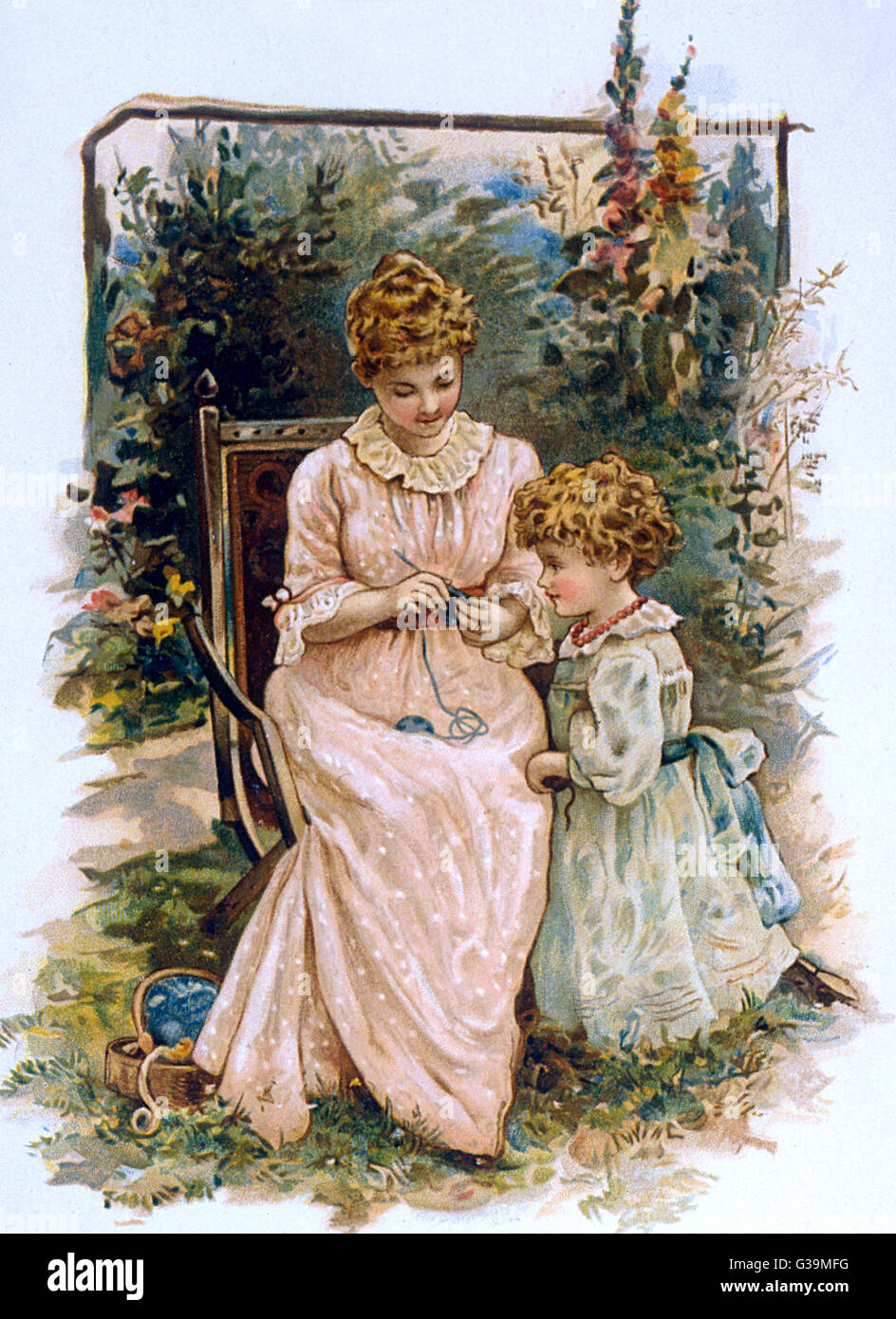 THE KNITTING LESSON         Date: circa 1880 - Stock Image