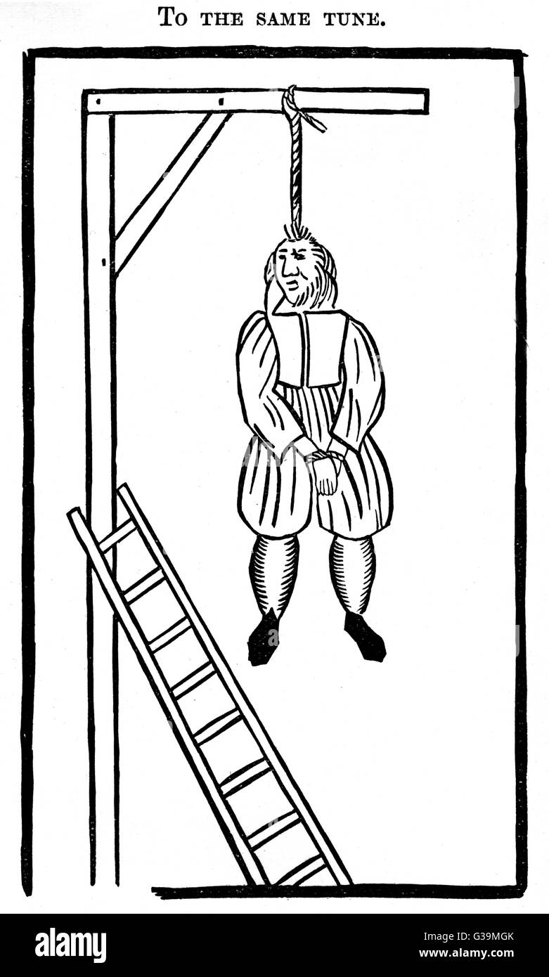 A man swings from the gallows         Date: Circa 1620 - Stock Image