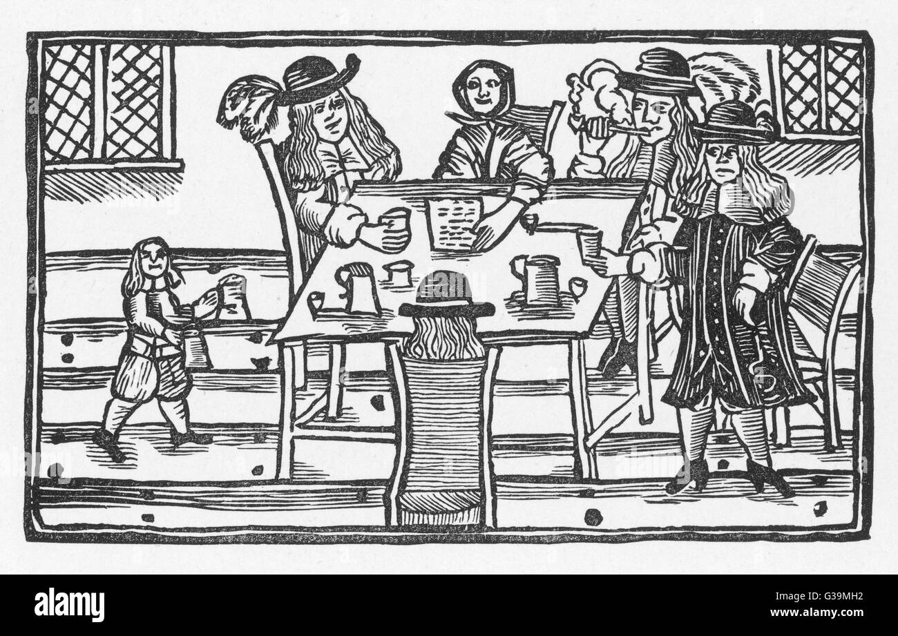 Three roisterers make merry  and order another round in  a tavern, but one of them  looks apprehensive as their - Stock Image