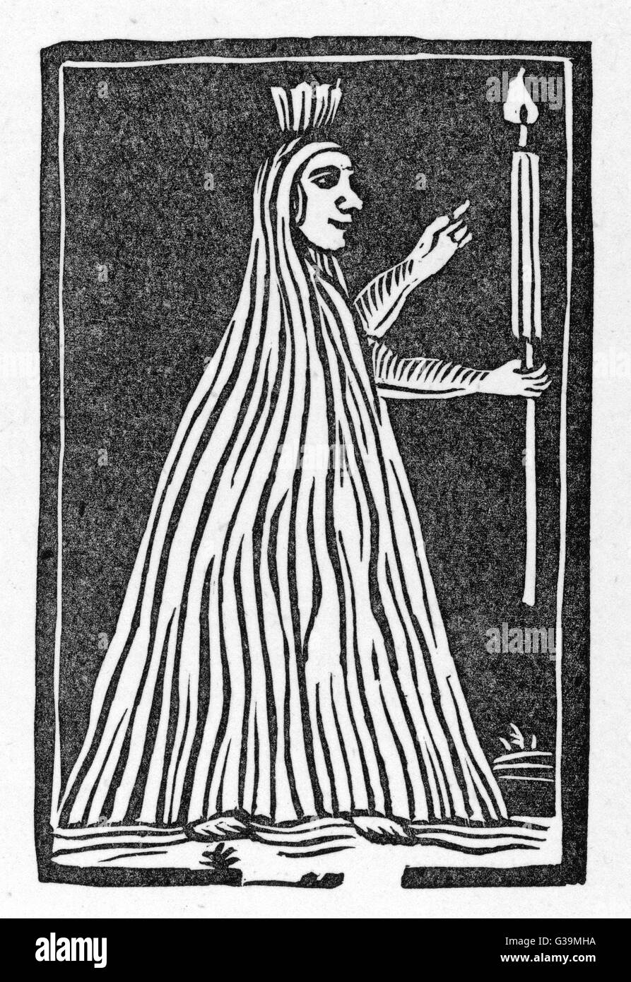 A stereotype ghost : this  woodcut was used time after  time to illustrate many  differentghostly ballads such  - Stock Image