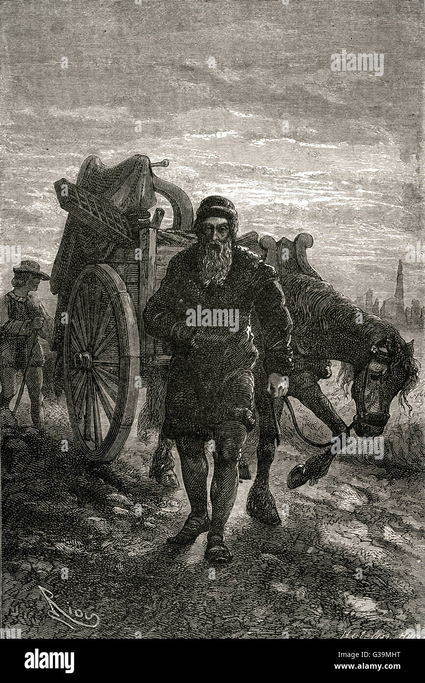 JOHANN GUTENBERG  German printer leaving  Strasburg, and taking his  typographical equipment  with him     Date: - Stock Image