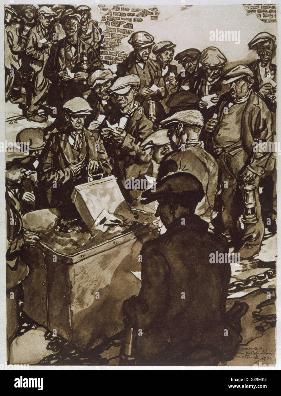 Miners queue to vote yes to  strike action         Date: September 1920 - Stock Image