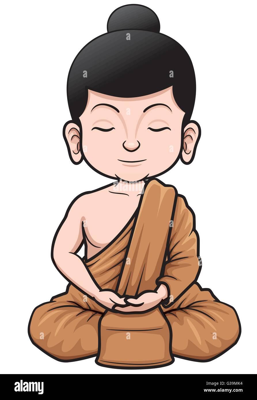 Vector illustration of Buddhist Monk cartoon - Stock Vector