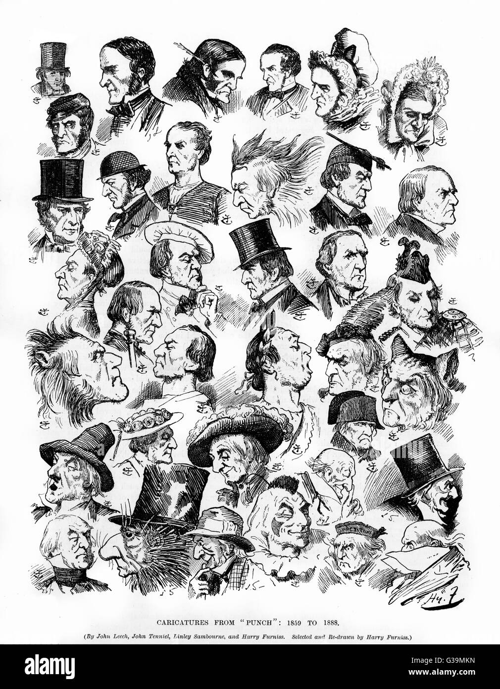 WILLIAM EWART GLADSTONE  Various caricatures of the  Liberal MP and Prime Minister  from 1859 to 1888, by various - Stock Image