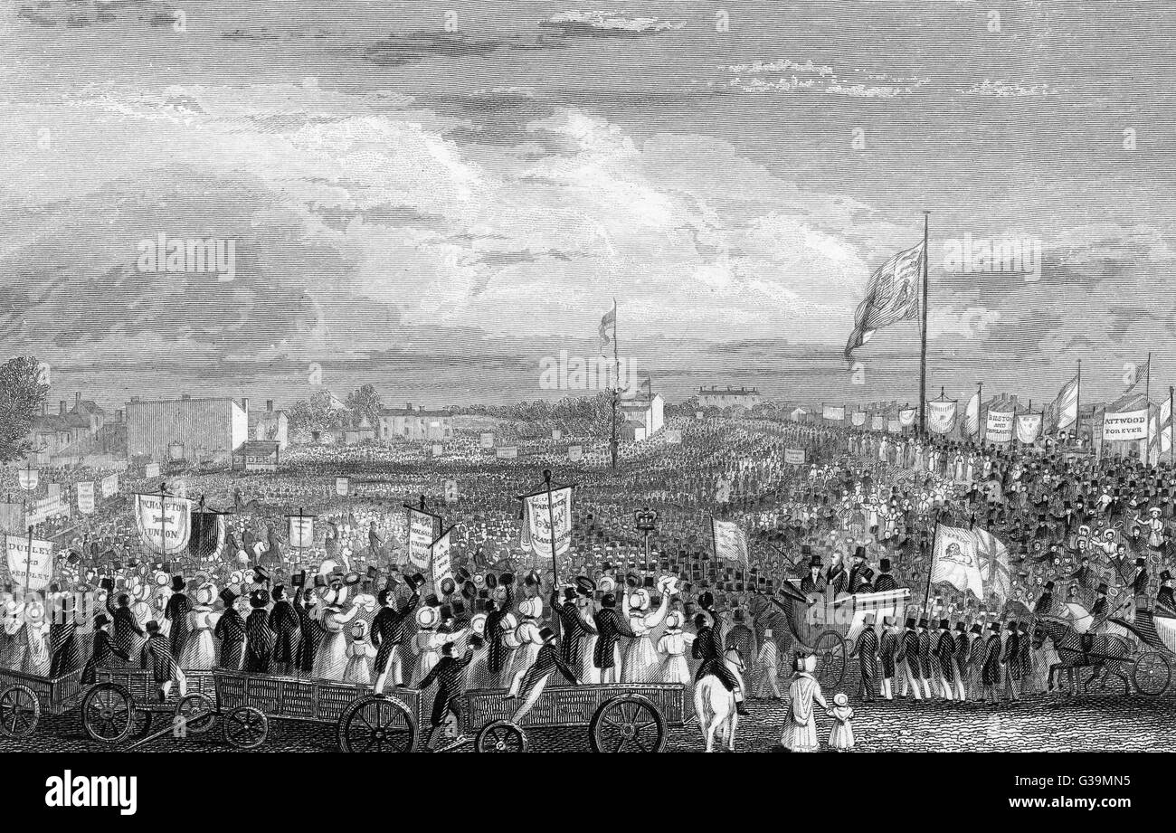 Political Unions gather at  New-Hall Hill, Birmingham, to  press the case for the Reform  Bill. The Bill was passed - Stock Image