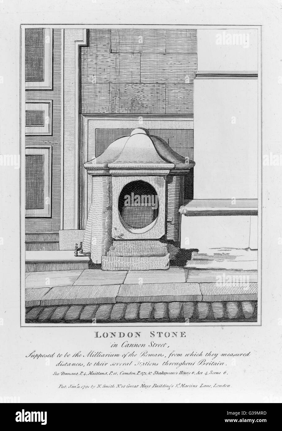 Cannon Street : an ancient  stone possibly originating as  a milestone during Roman  times, today incorporated into - Stock Image