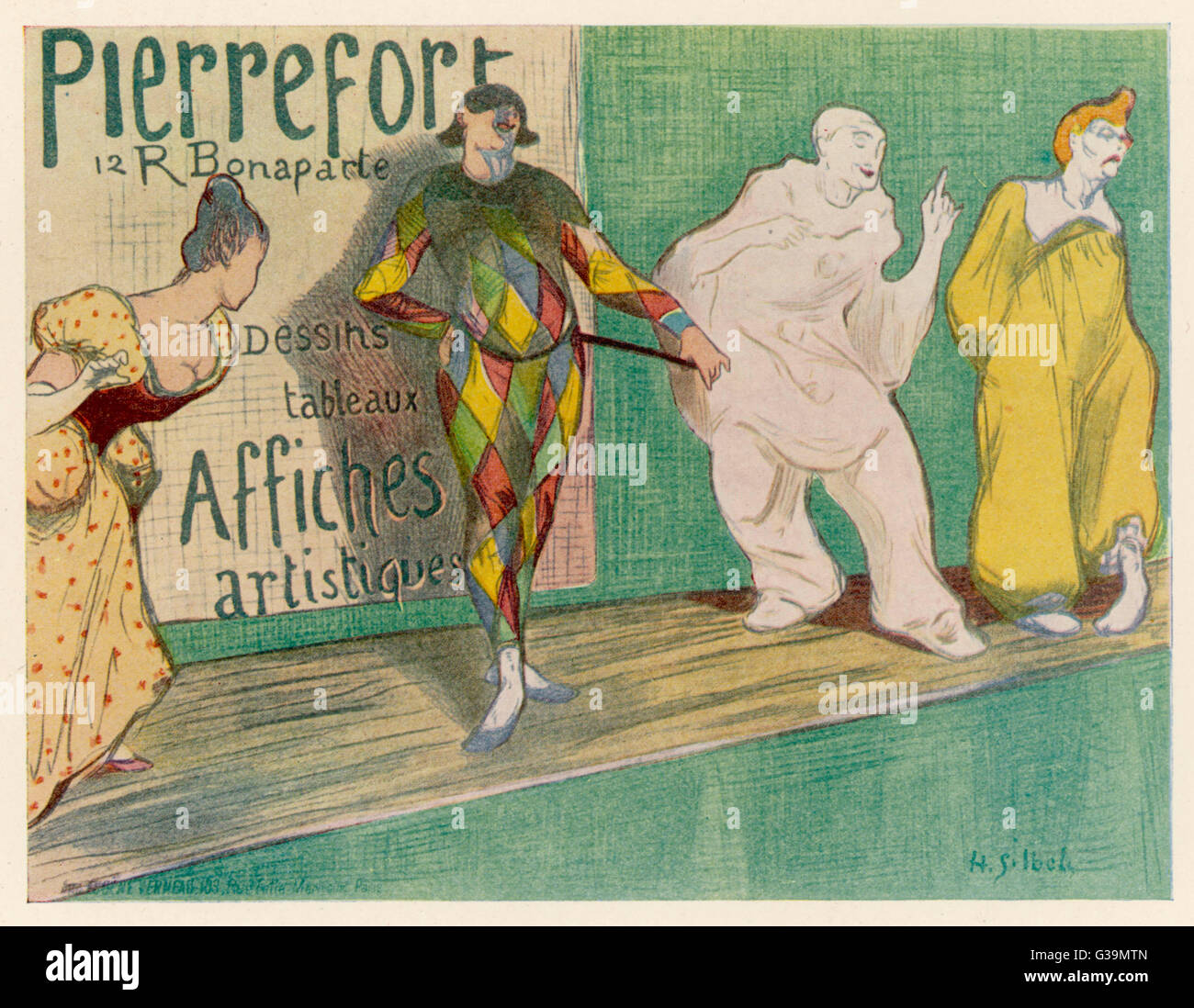 Poster depicting entertainers  - singers, commedia del arte         Date: 1897 - Stock Image