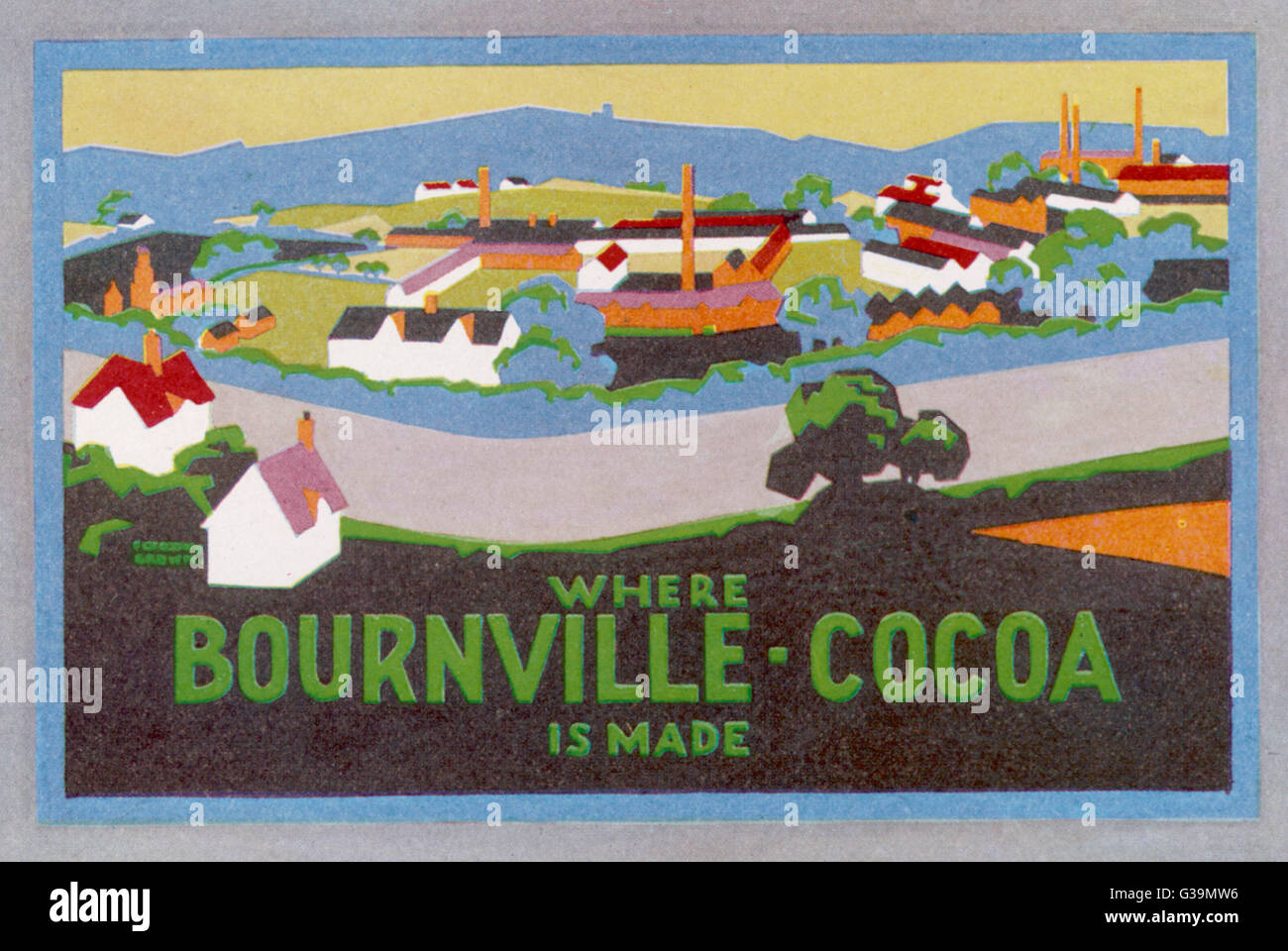 'WHERE BOURNVILLE COCOA  IS MADE'         Date: 1921 - Stock Image