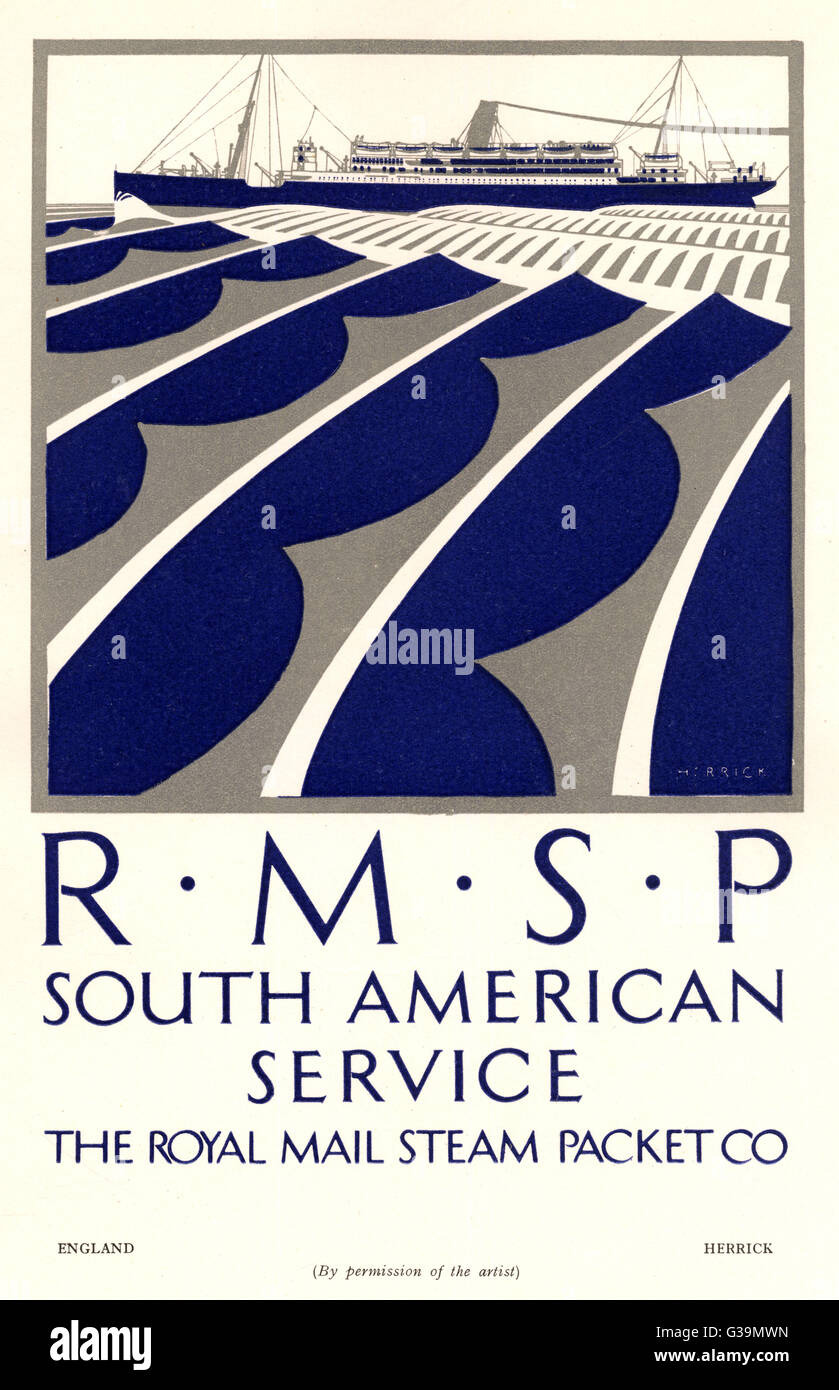 Poster for the South American  service of the Royal Mail  Steam Packet Company        Date: circa 1924 - Stock Image