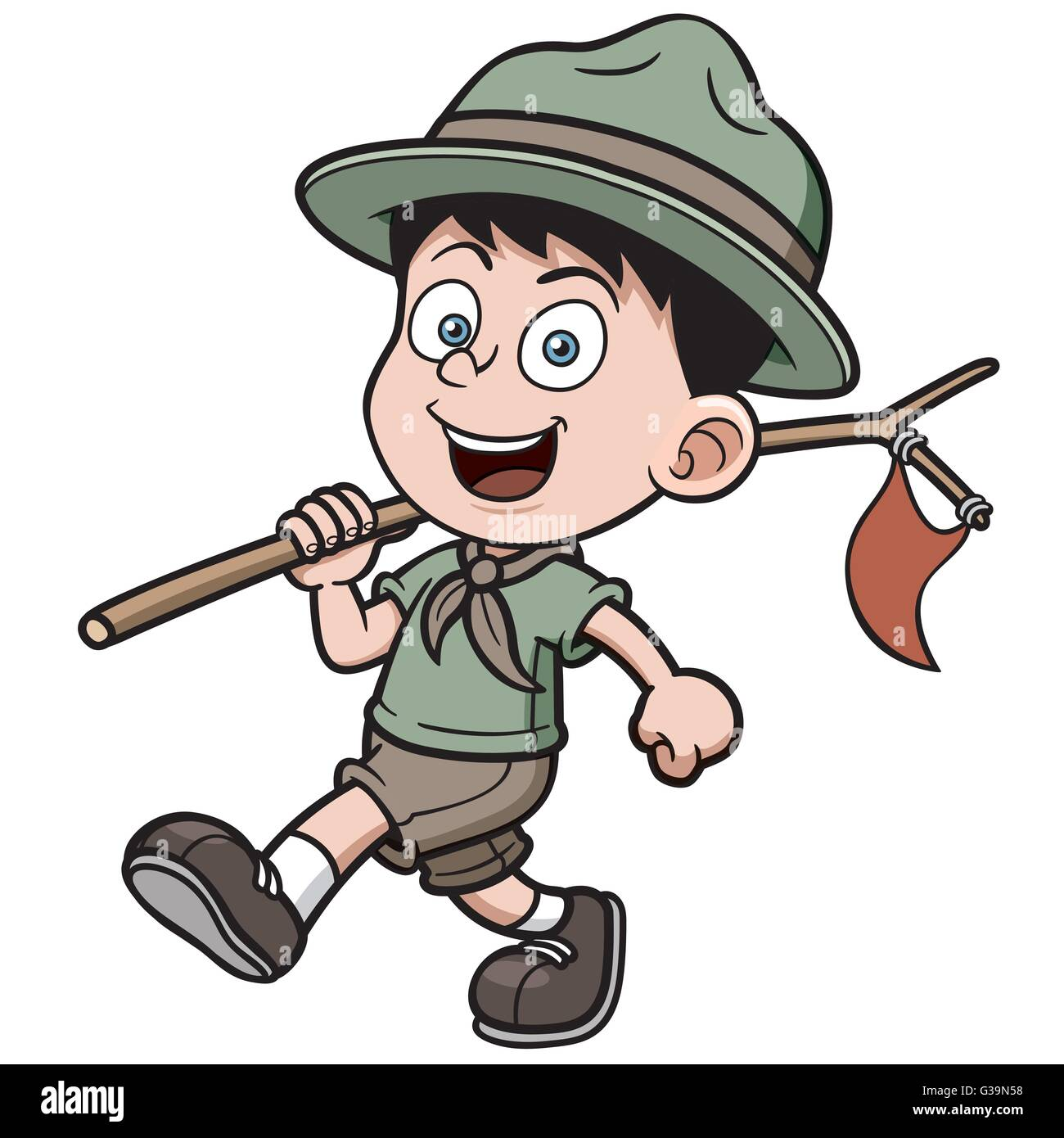 Vector illustration of boy scout cartoon - Stock Vector