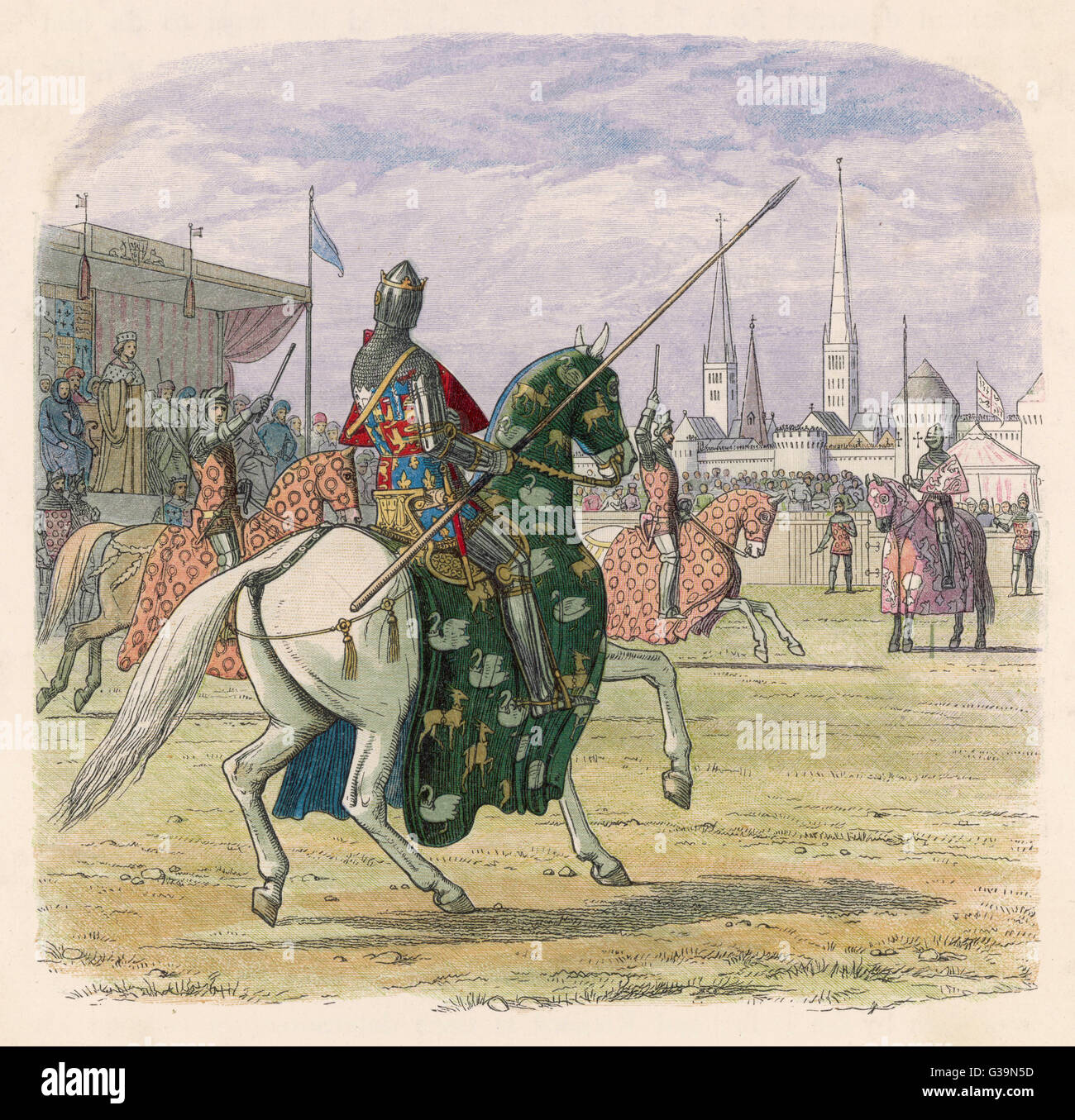 Richard II jousting at Coventry          Date: 16th September 1398 - Stock Image